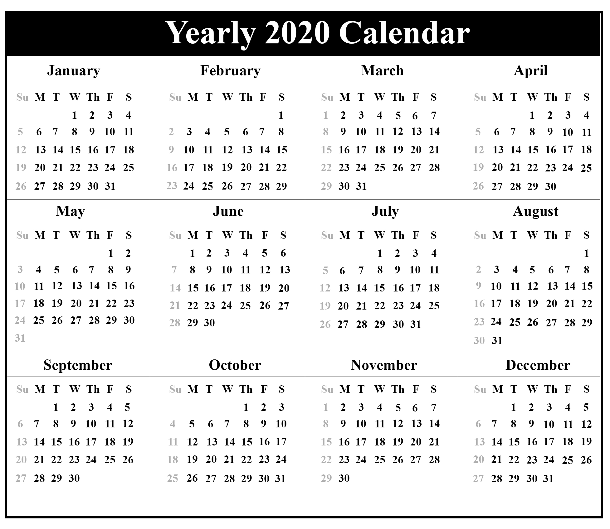 Printable Yearly Calendar 2020 Template With Holidays [Pdf  Islamic Calendar 2020 Pdf