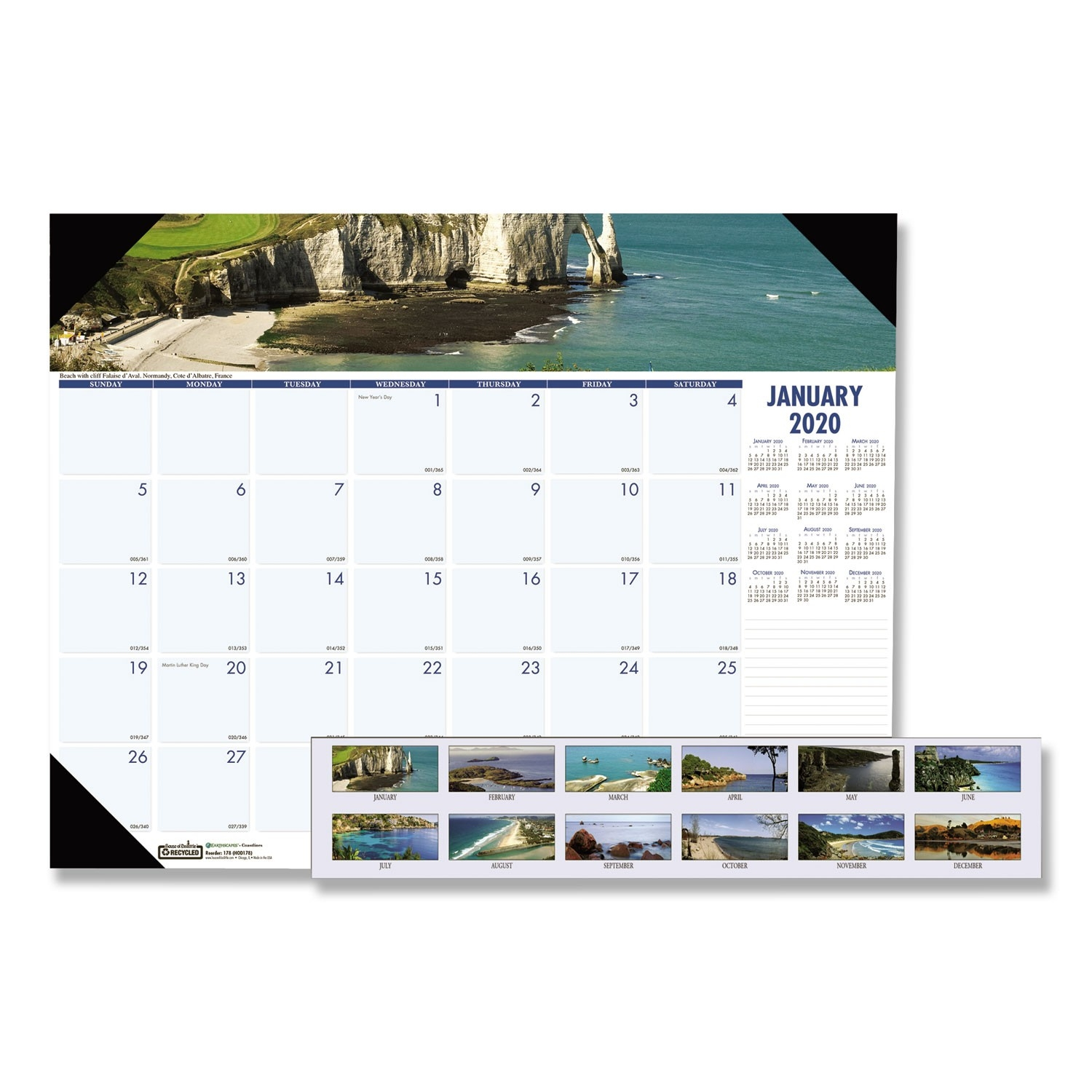 Recycled Coastlines Photographic Monthly Desk Pad  Official Navy Calendar Template With Julian Dates 2020