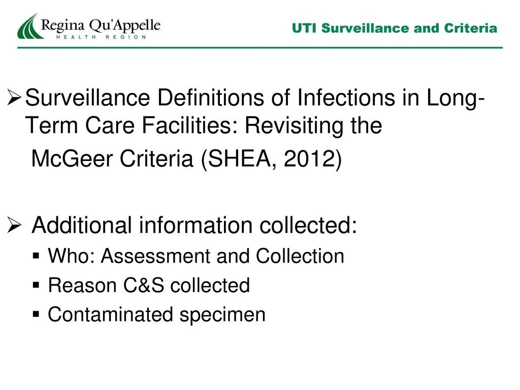 Regional Infection Prevention & Control - Ppt Download  Mcgeers Criteria Uti