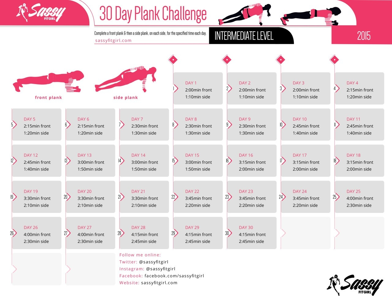 Sassy Fit Girl — 30 Day Plank Challenge - Intermediate Level  30 Day Fitness Challenge Printable