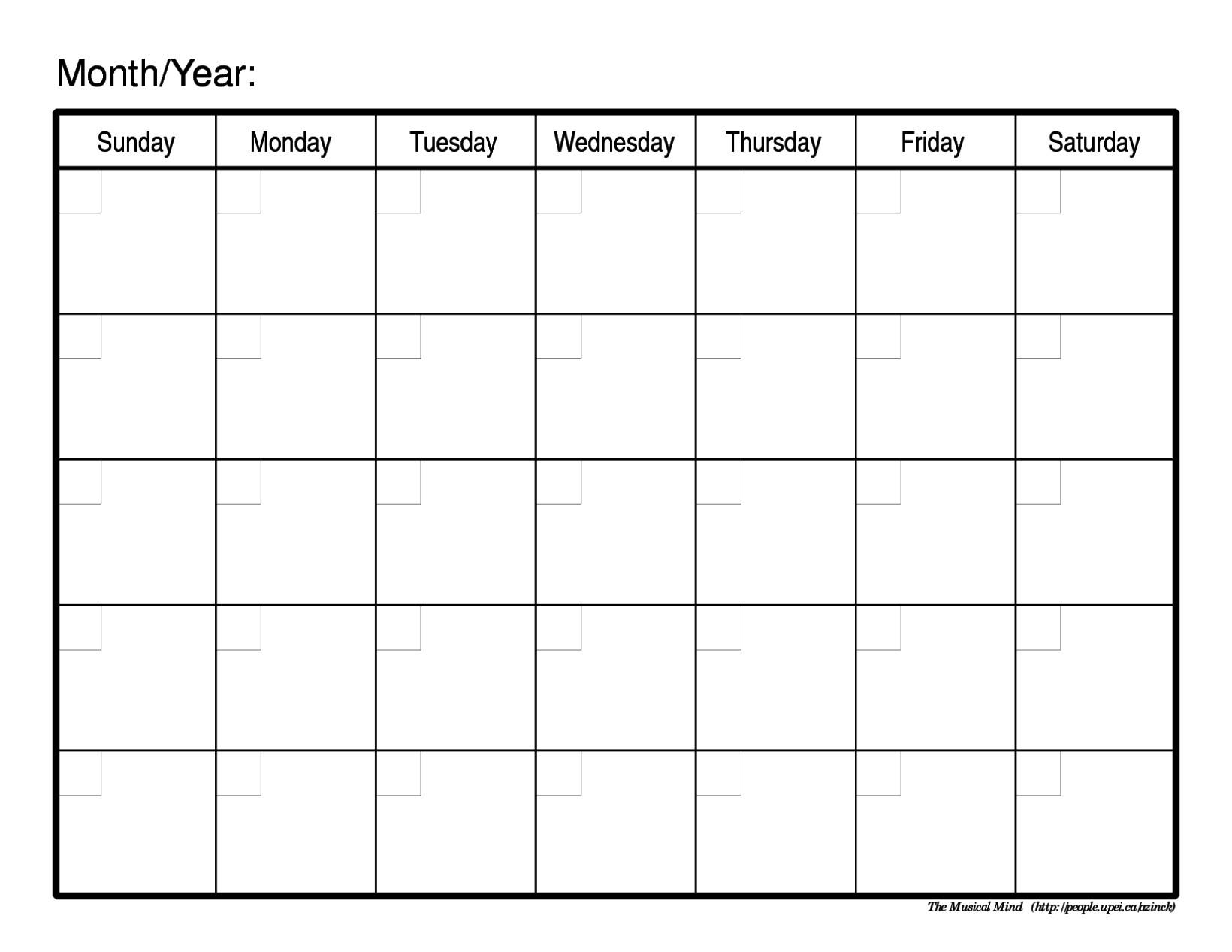 Schedule Template Free Printable Weekly Calendar Blank  Full Page Blank Month Calendar
