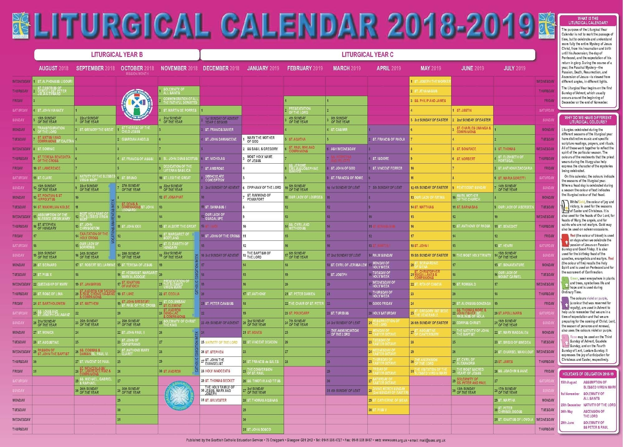 Scottish Catholic Education Service | Sces | Liturgical  Liturgical Calendar 2020