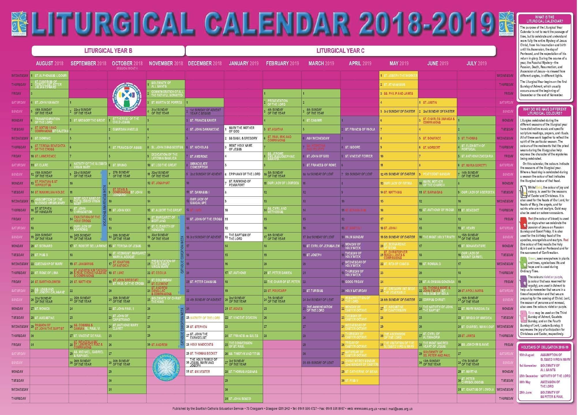 Scottish Catholic Education Service   Sces   Liturgical  Liturgical Calendar 2020
