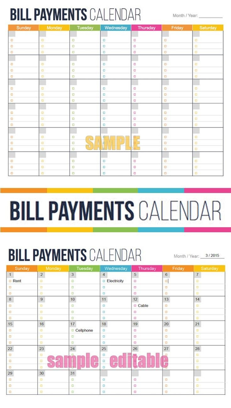 See Your Bills Due Dates At A Glance. Bill Payment Calendar  Calendar For Bills Due Date