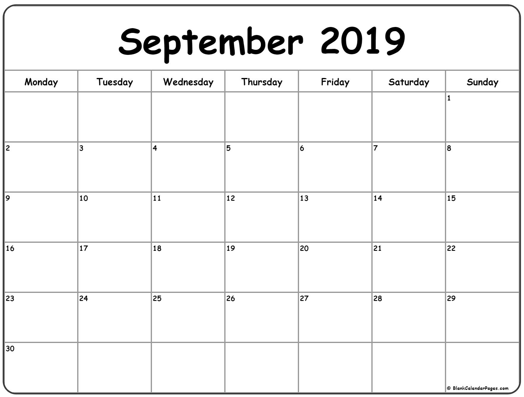 September 2019 Monday Calendar | Monday To Sunday  September Calendar Beginning With Mondays