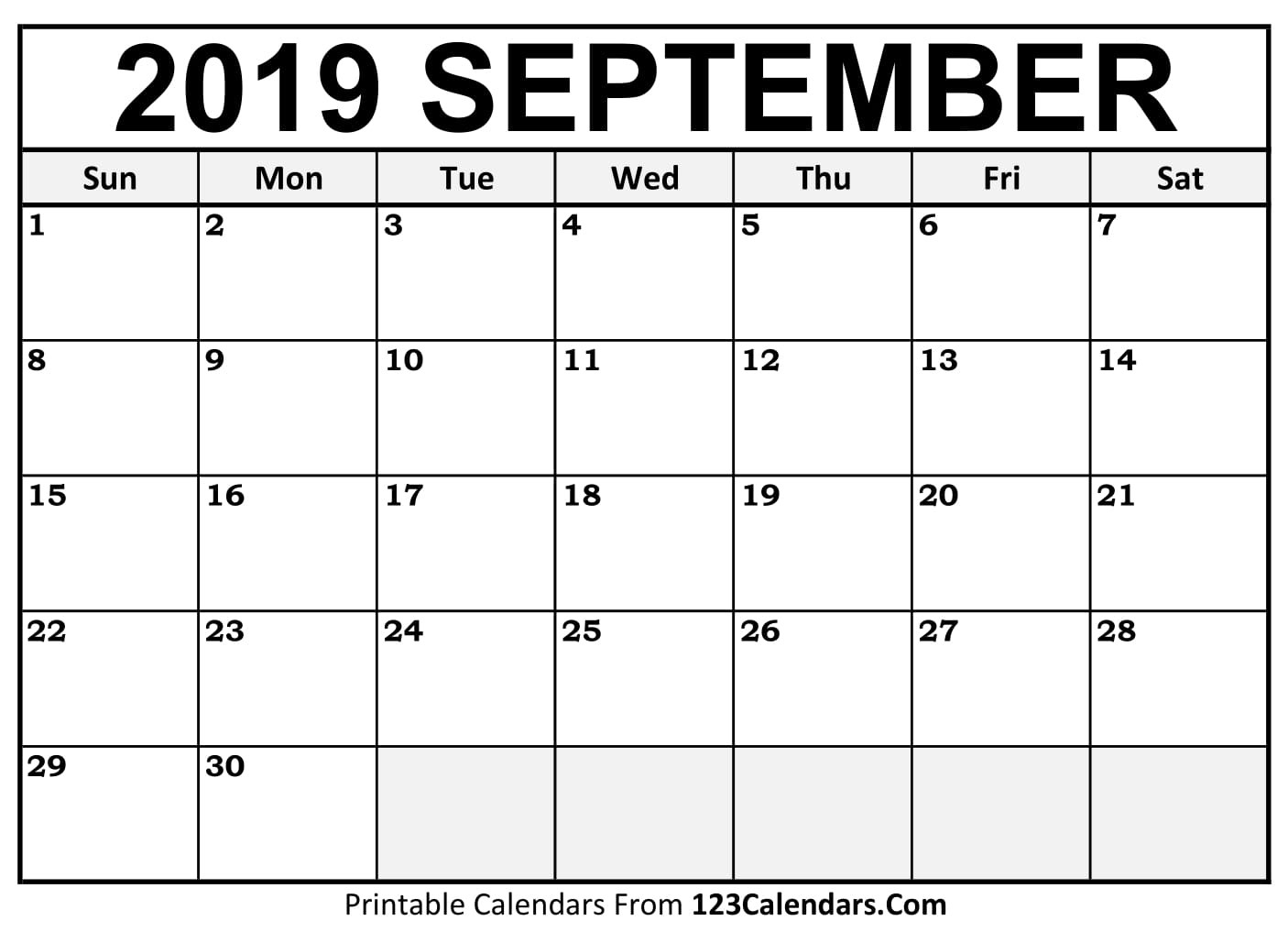 September 2019 Printable Calendar | 123Calendars  Full Page Printable Calendar