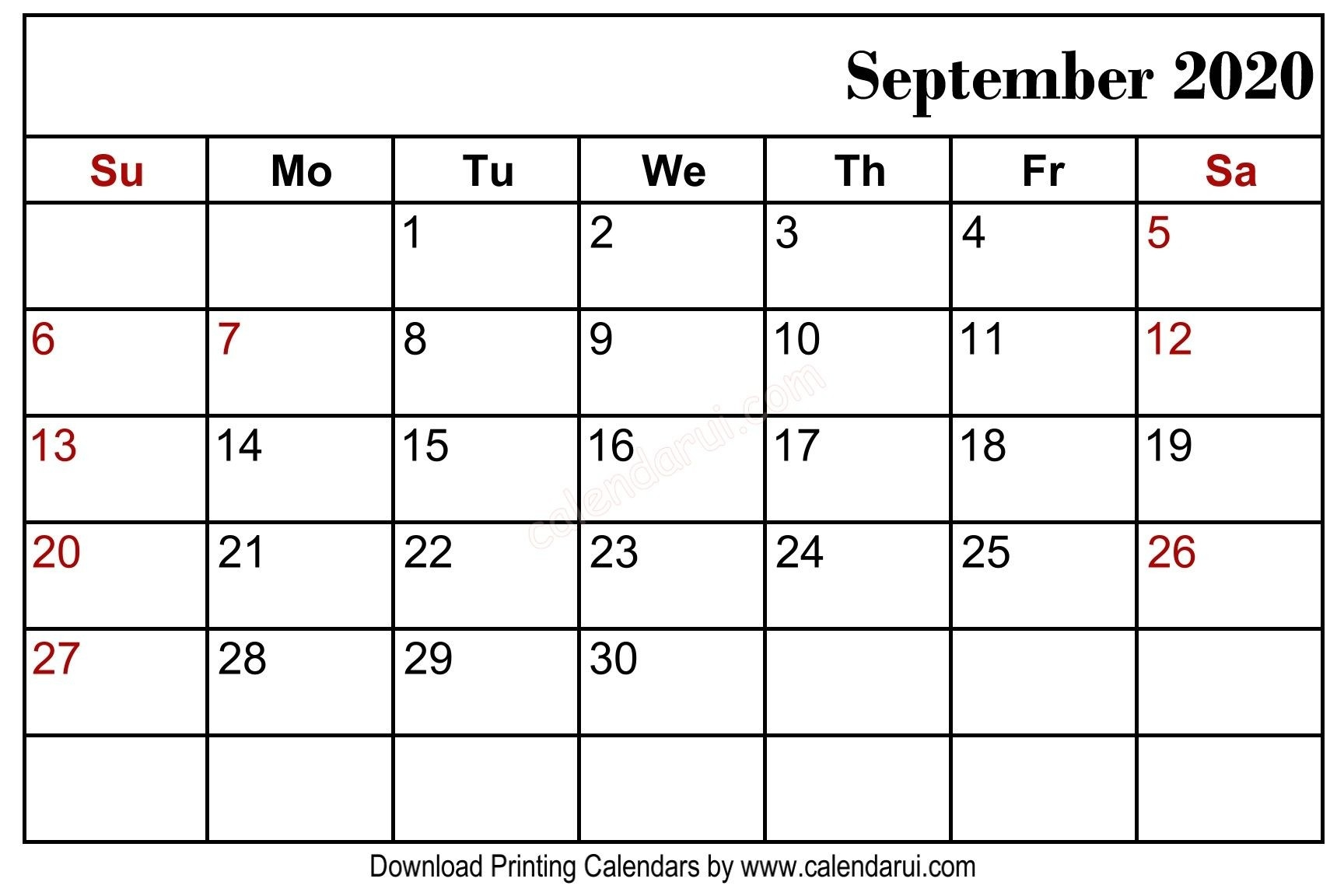 September 2020 Blank Calendar Printable Free Download  Full Page September 2020 Calender Page