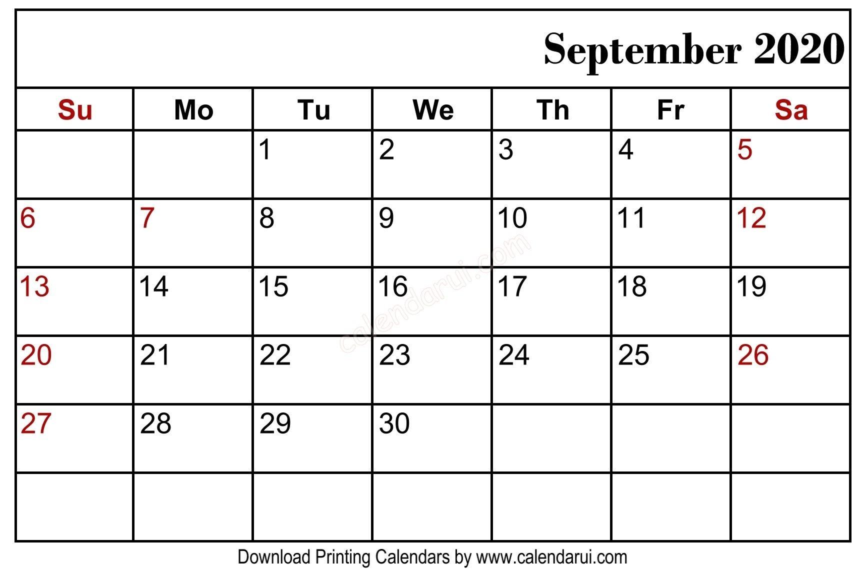 September 2020 Blank Calendar Printable Free Download  September 2020 Calendar Malayalam