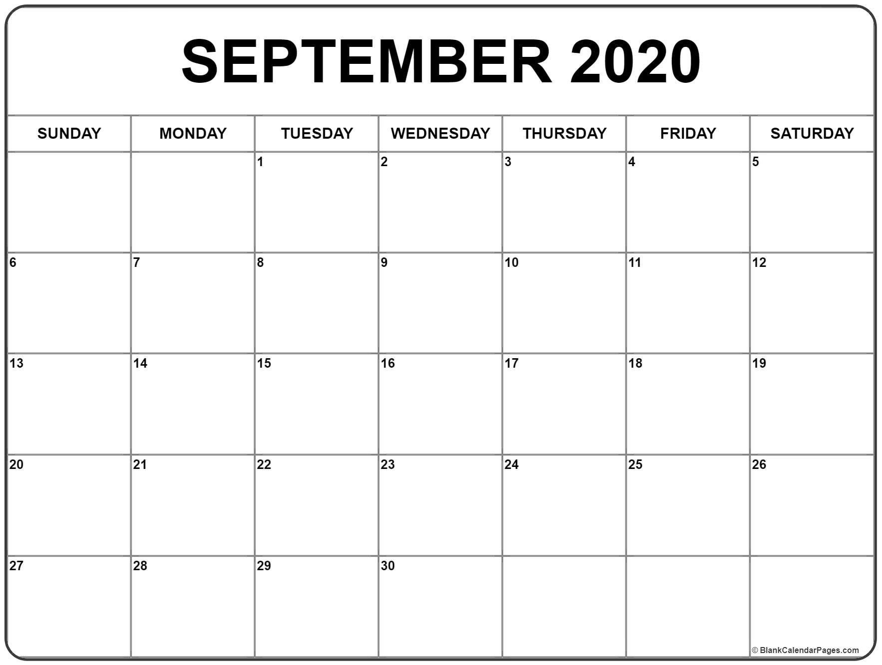 September 2020 Calendar 51 Calendar Templates Of 2020  Blank September Calendar 2020 Monday Through Sunday