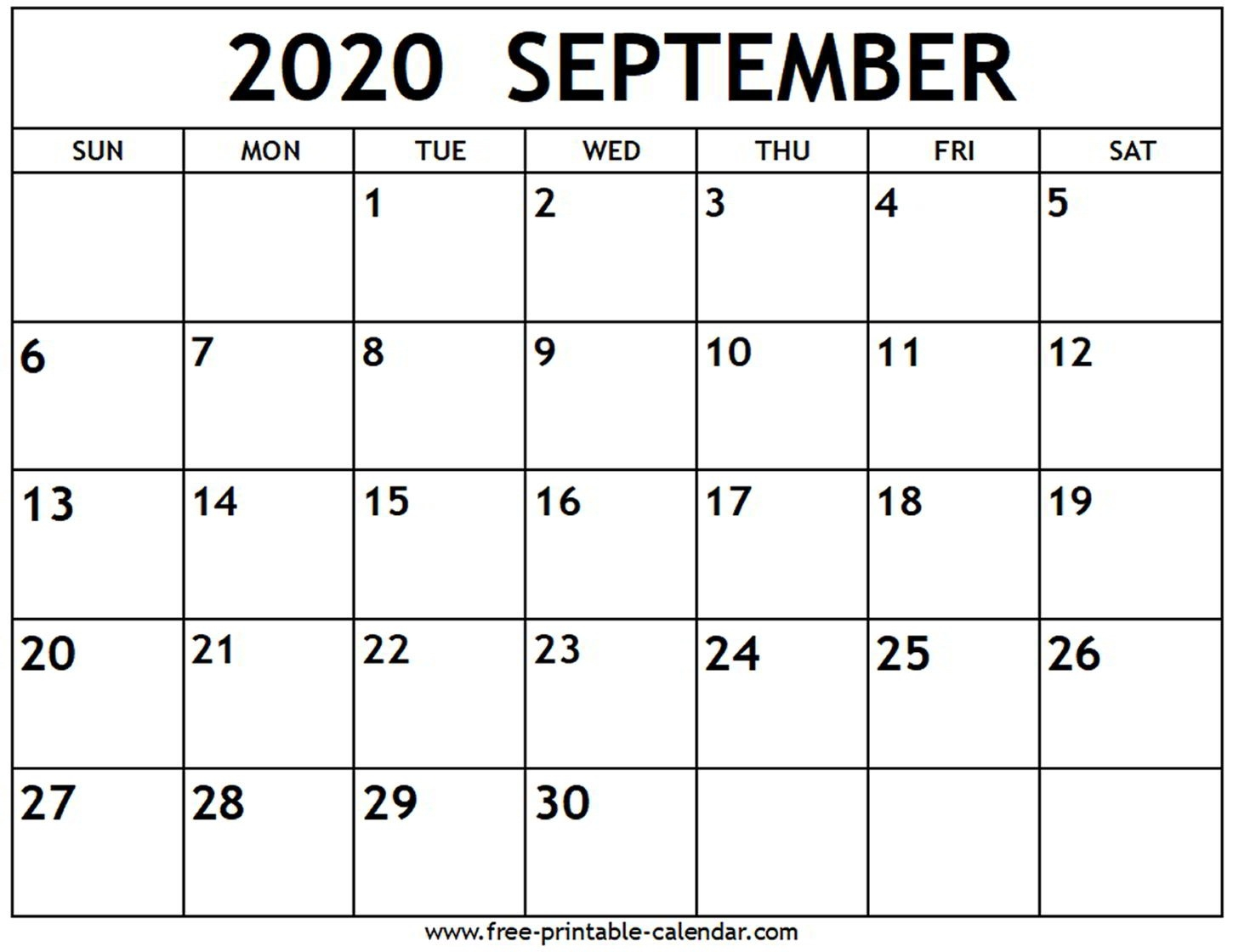 September 2020 Calendar - Free-Printable-Calendar  Calandar For August To December 2020