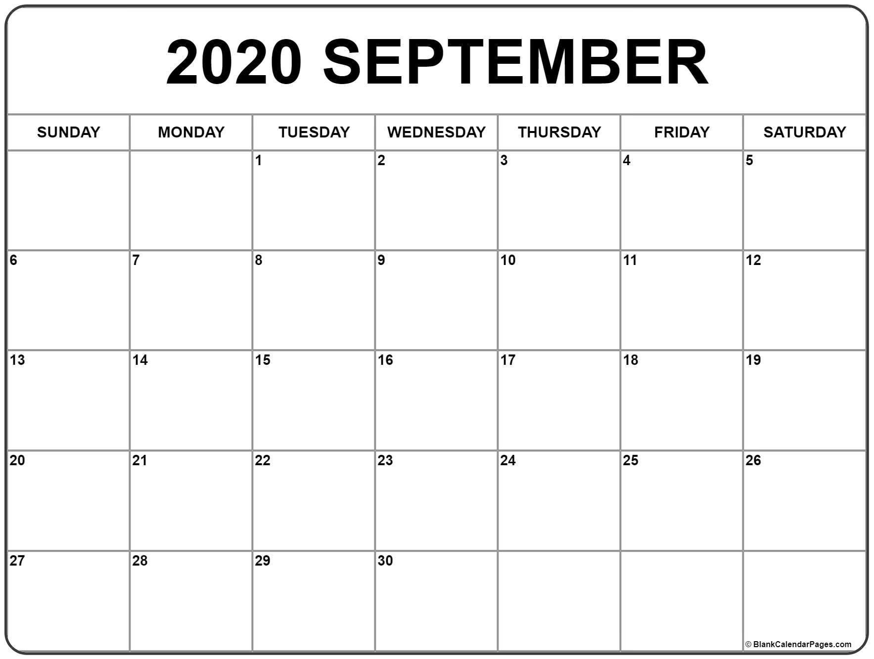 September 2020 Calendar | Free Printable Monthly Calendars  Blank September Calendar 2020 Monday Through Sunday
