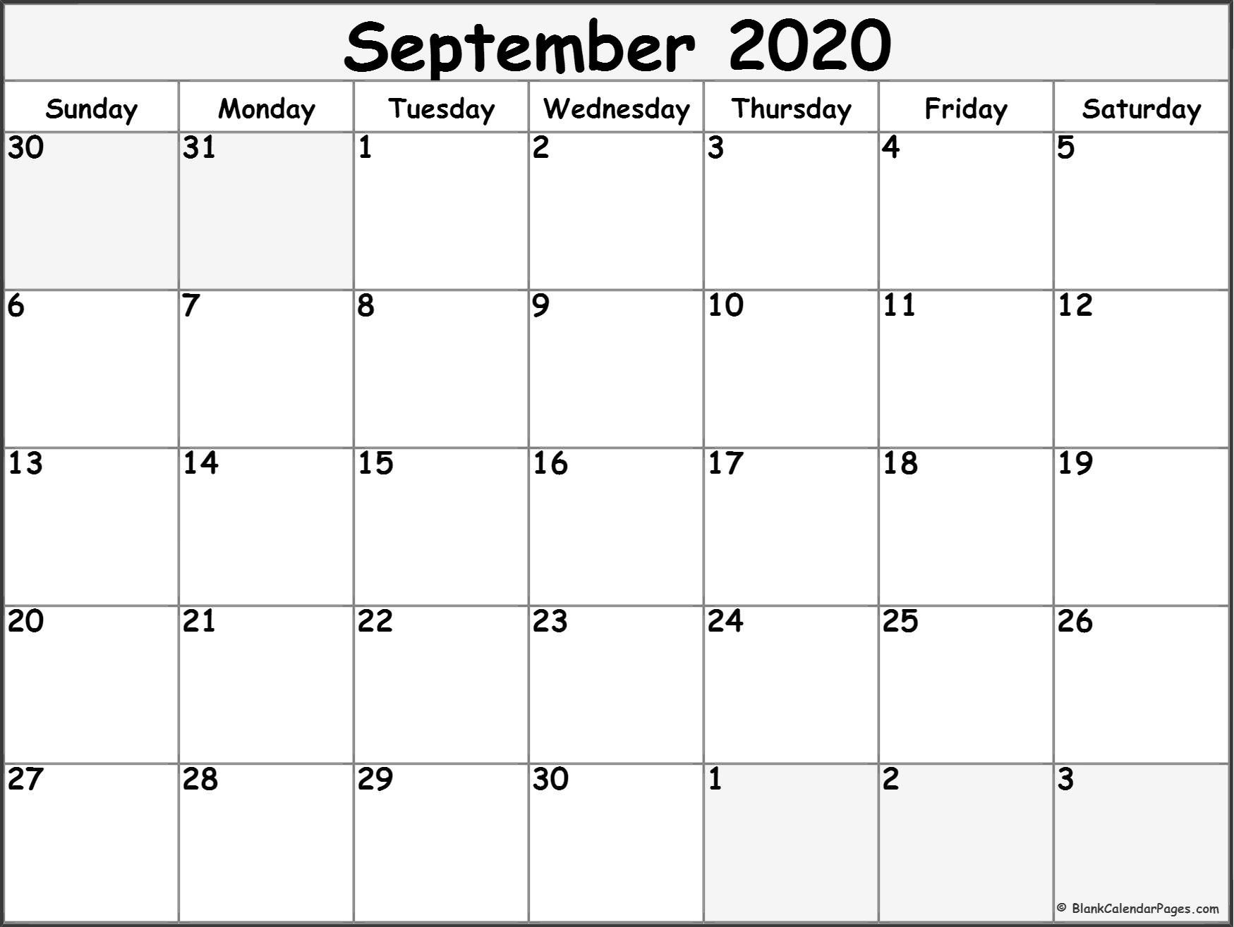 September 2020 Calendar | Free Printable Monthly Calendars  Full Page September 2020 Calender Page