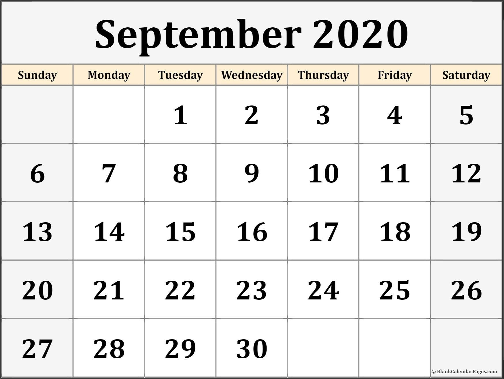 September 2020 Calendar | Free Printable Monthly Calendars  Sept 2020 Calender Monday Thru Sunday