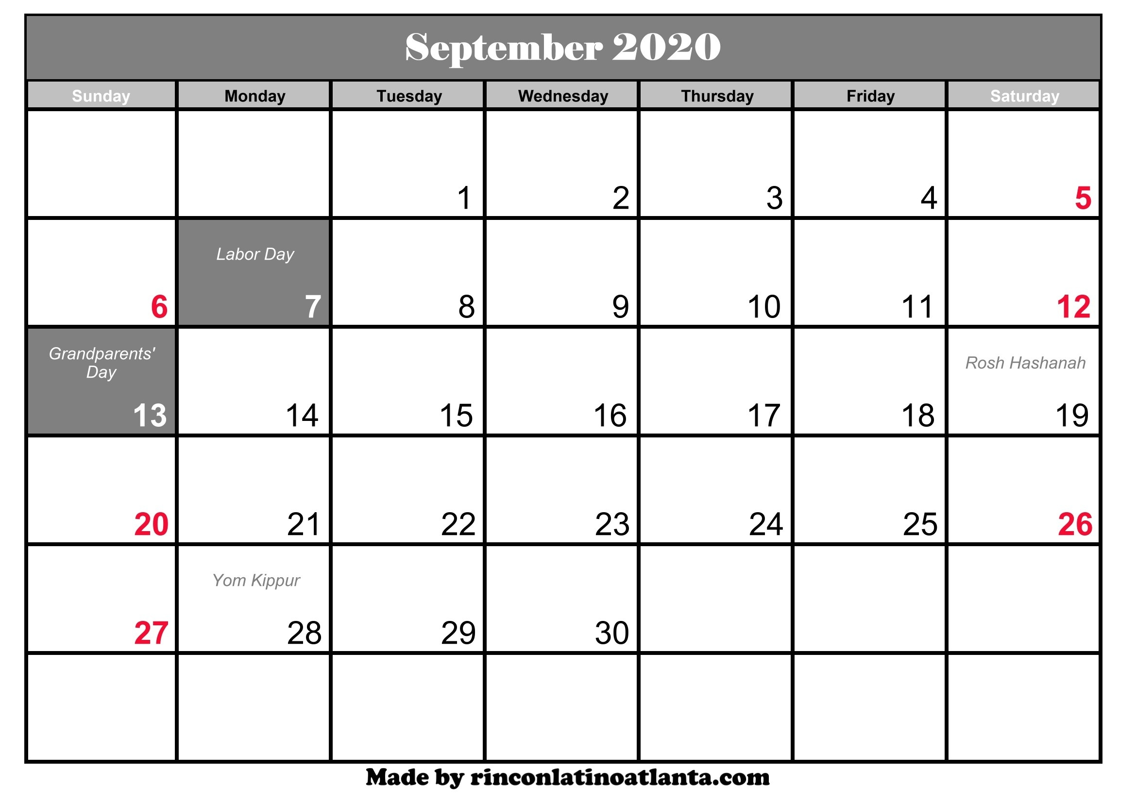 September 2020 Calendar With Holidays | Calendar Template  Full Size September 2020 Calendar Printable