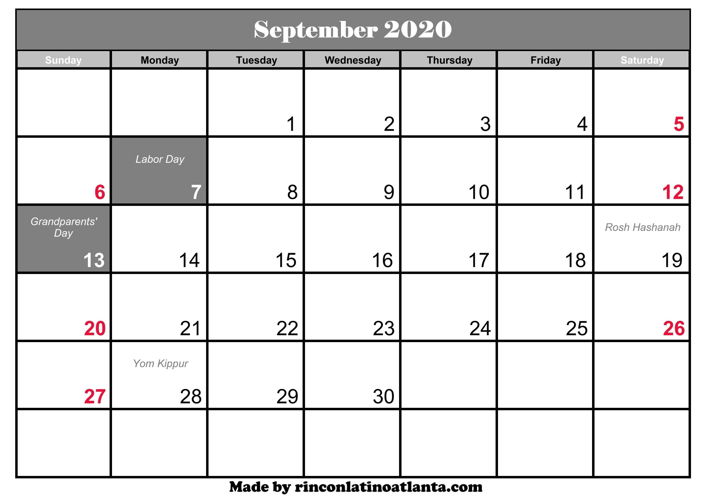September 2020 Calendar With Holidays | Calendar Template  Printable Full Size Septmeber 2020 Calendar