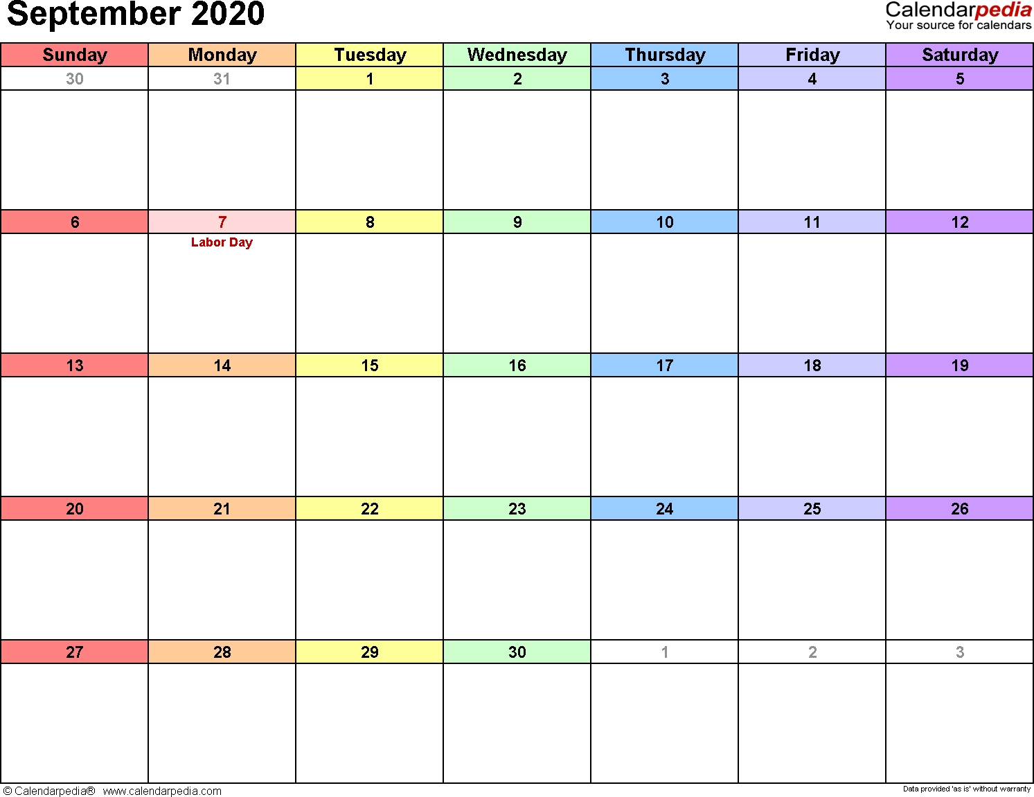 September 2020 Calendars For Word, Excel & Pdf  Full Size September 2020 Calendar Printable