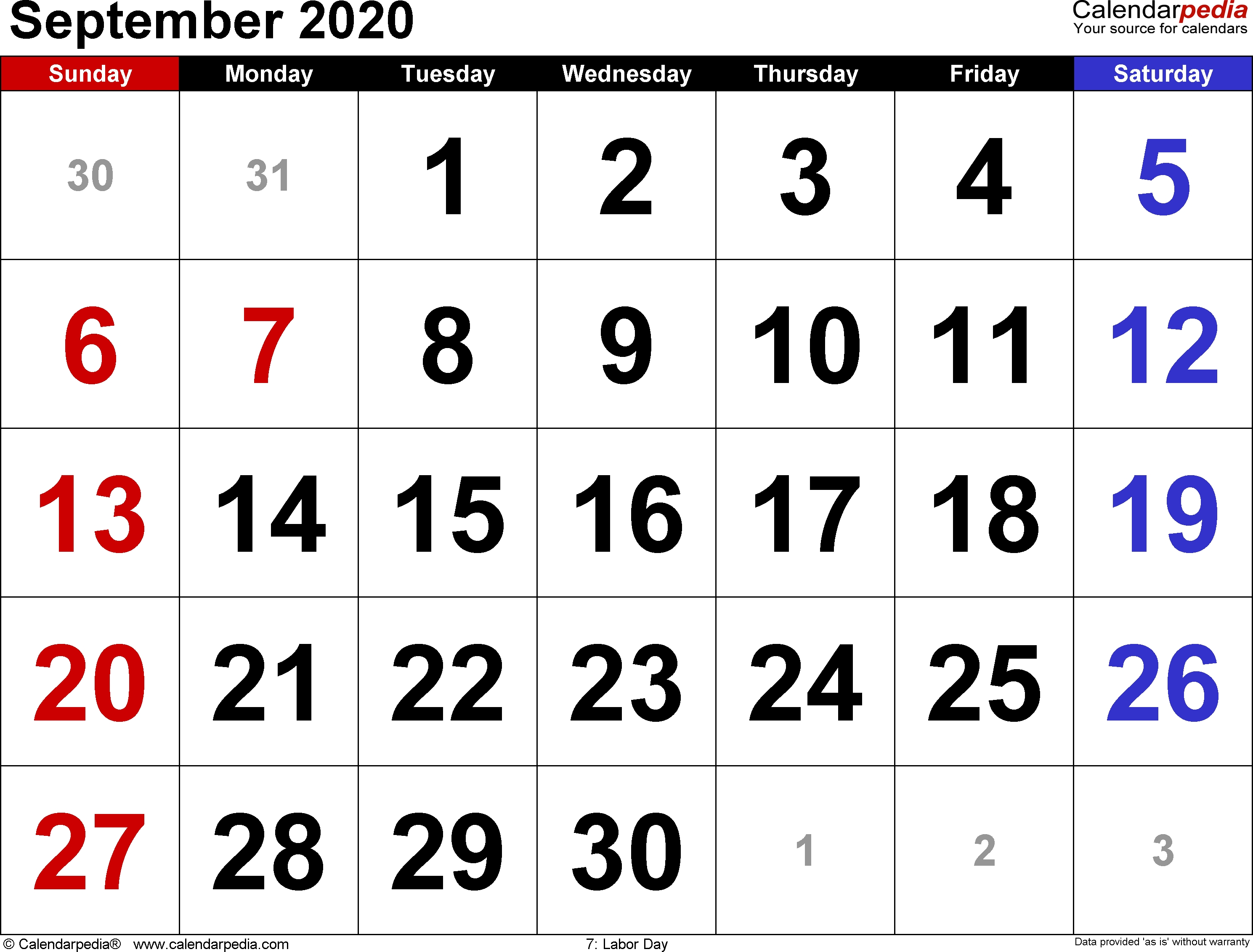 September 2020 Calendars For Word, Excel & Pdf  Full Size Sheet Printable September  2020Calendar