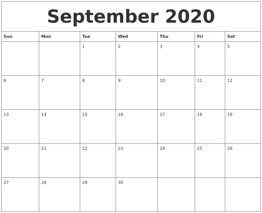 September 2020 Free Printable Calendar Templates  Printable 2020 Full Page Monthly Calendar