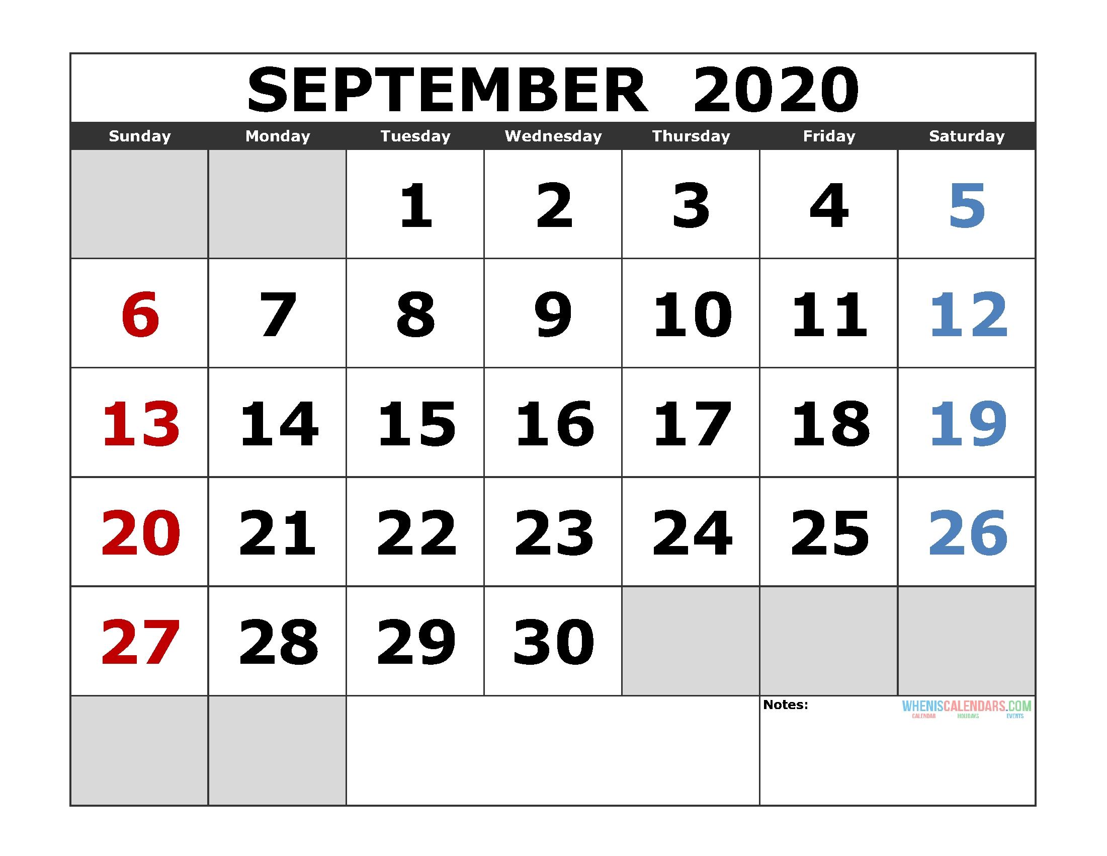 September 2020 Printable Calendar Template Excel, Pdf, Image  Printable Full Size Septmeber 2020 Calendar
