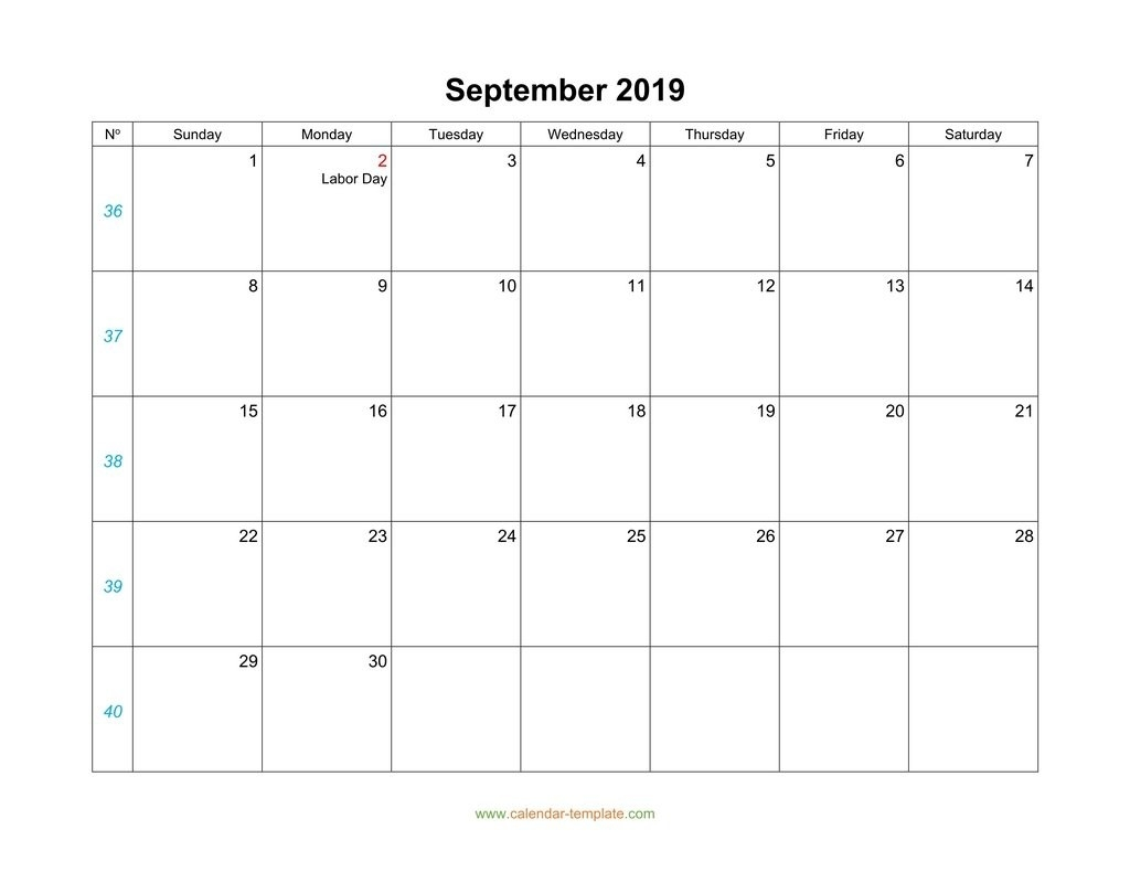 September Calendar 2019 Blank Template  September Calendar Beginning With Mondays
