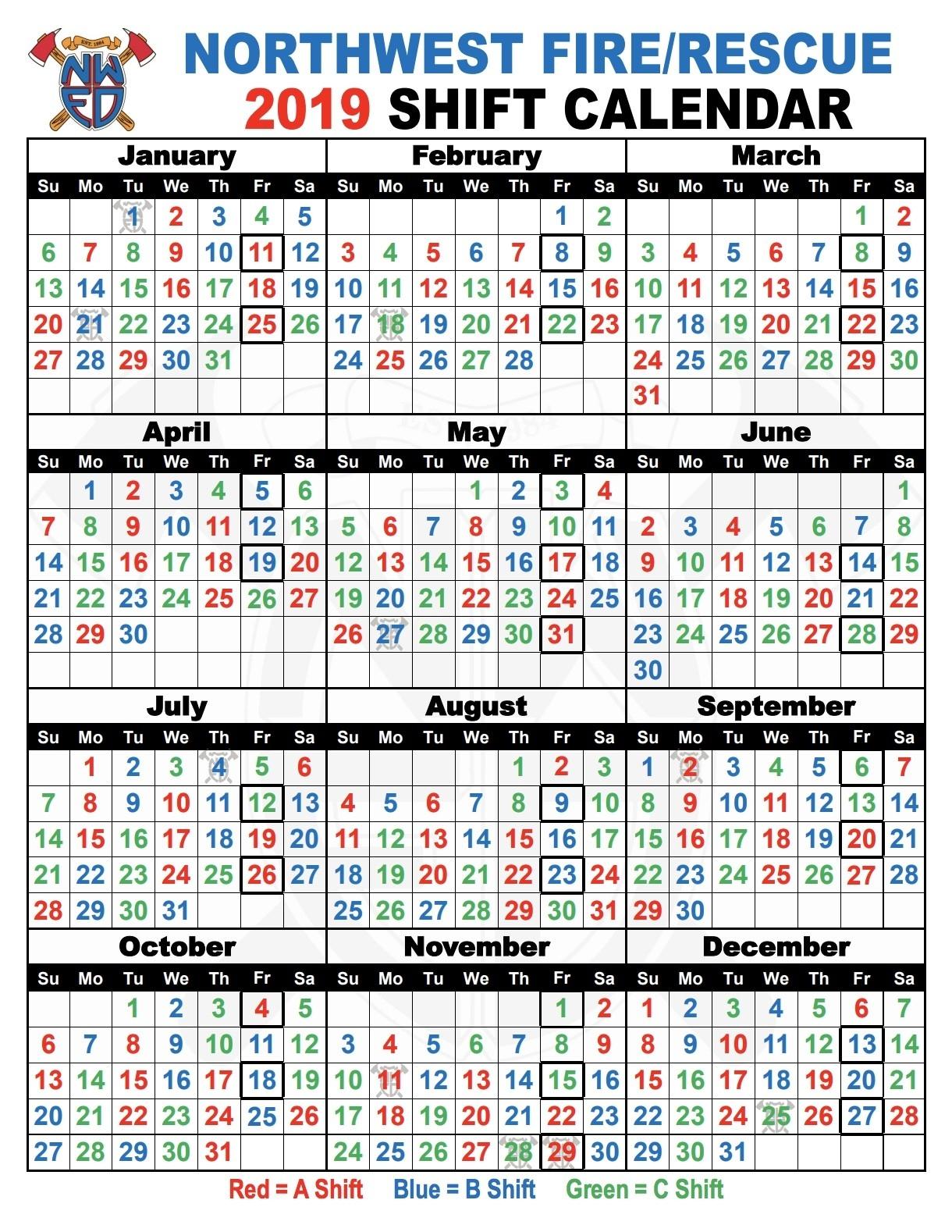 Shift Schedules | Northwest Fire District  Fireman B Schedule
