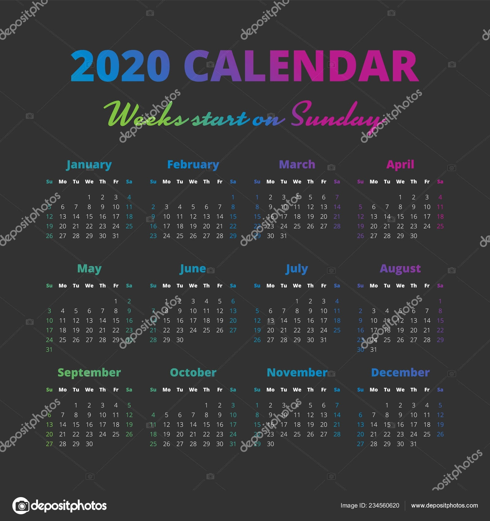 Simple 2020 Year Calendar, Weeks Start On Sunday — Stock  15 Week Schedule Depo Schedule 2020