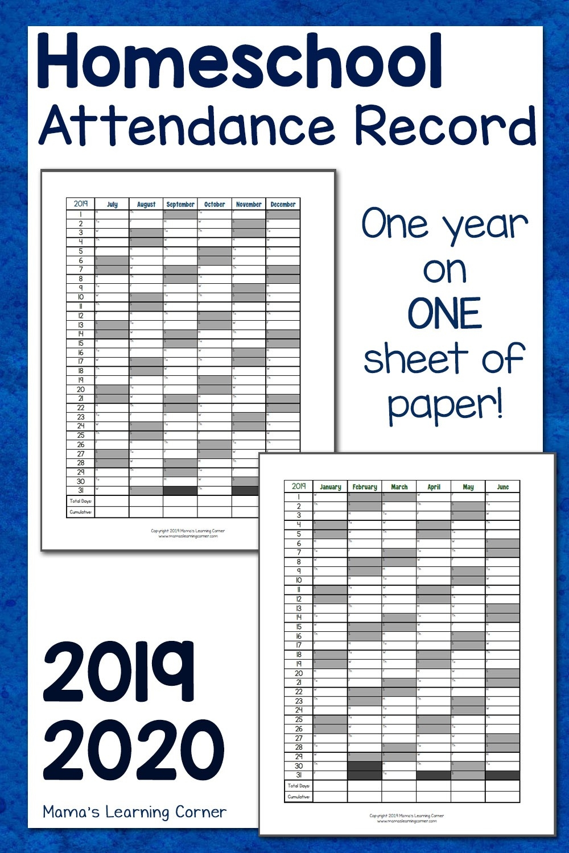 Simple Homeschool Attendance Record 2019-2020 - Mamas  Attendance Tracking Calendar 2020