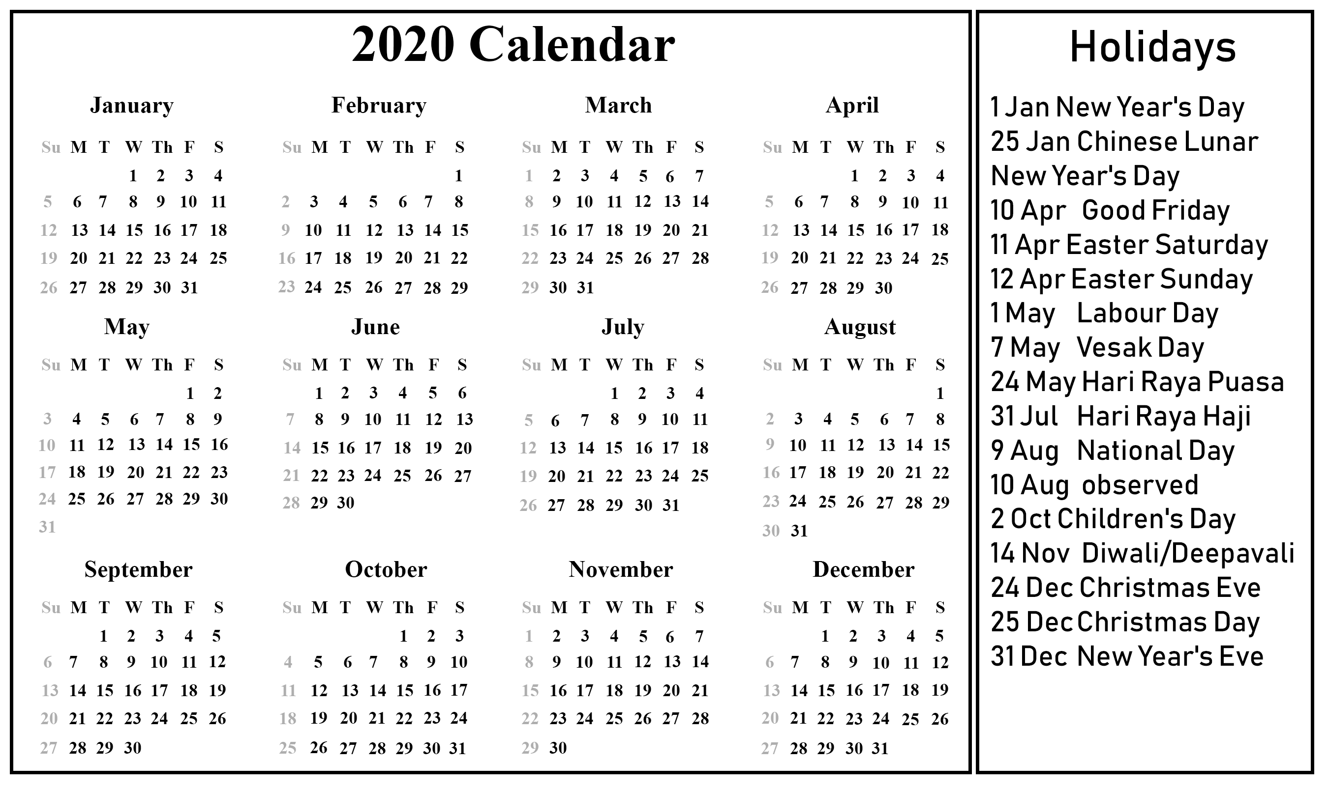 Singapore 2020 Printable Holidays Calendar | 2020 Calendars  Aug - Dec 2020 Calendar