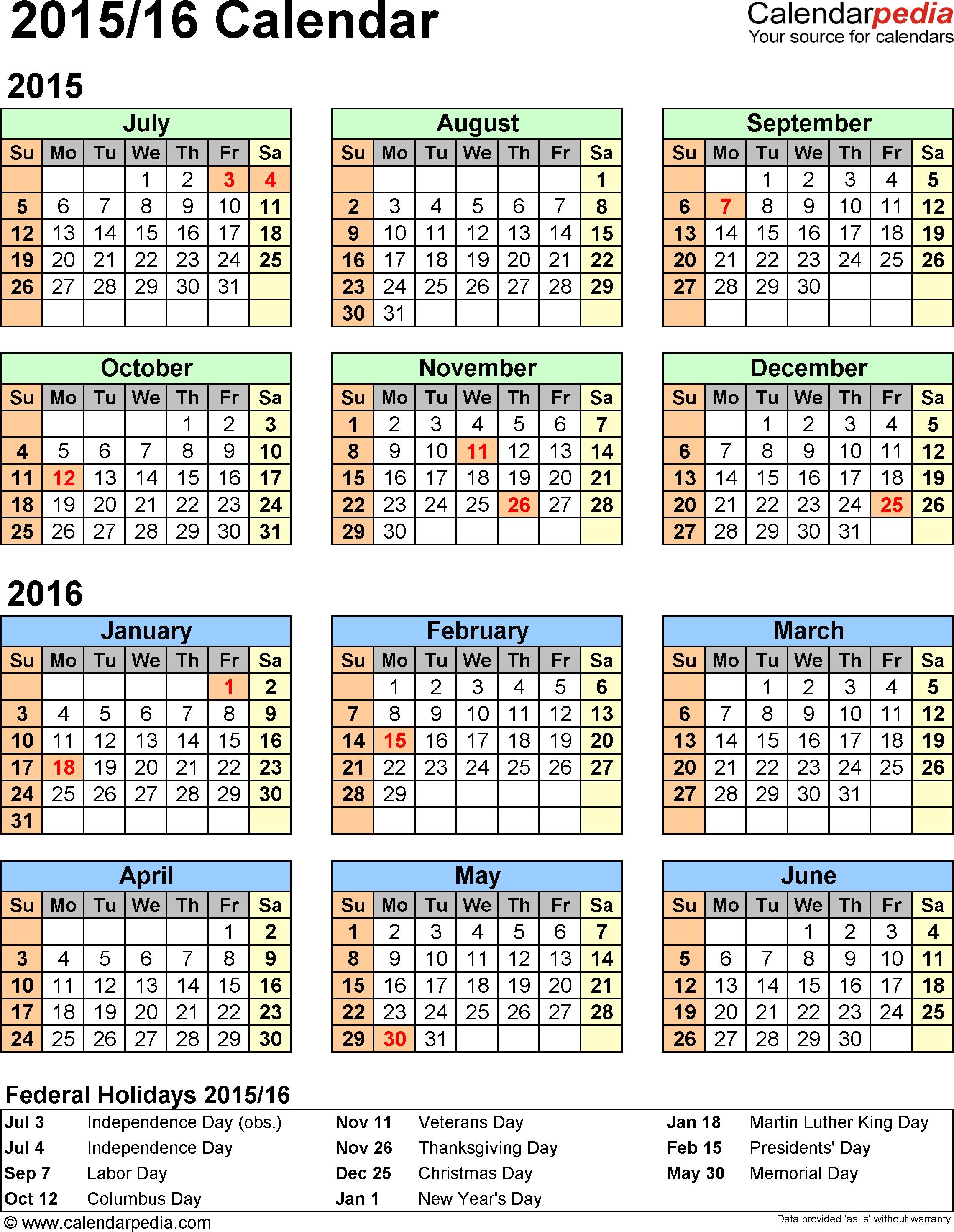Split Year Calendar 2015/16 (July To June) - Pdf Templates  Financial Year Australia Callendar