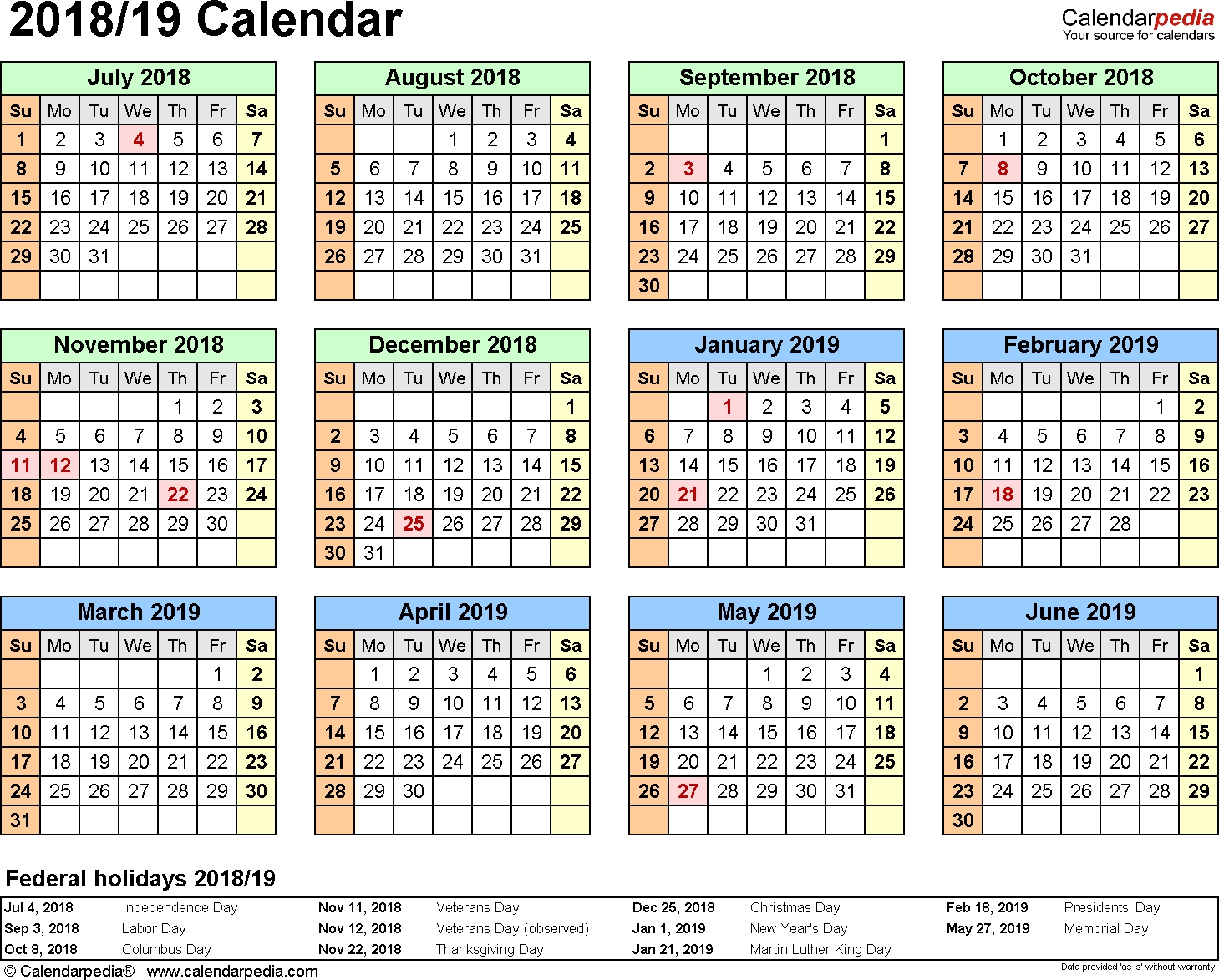 Split Year Calendar 2018/19 (July To June) - Pdf Templates  Financial Calendar Australia