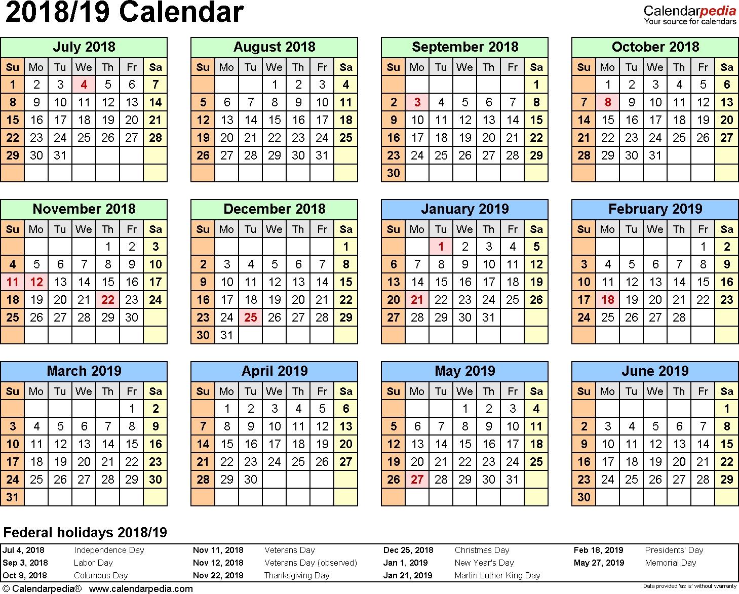 Split Year Calendar 2018/19 (July To June) - Pdf Templates  Financial Calendar Australia