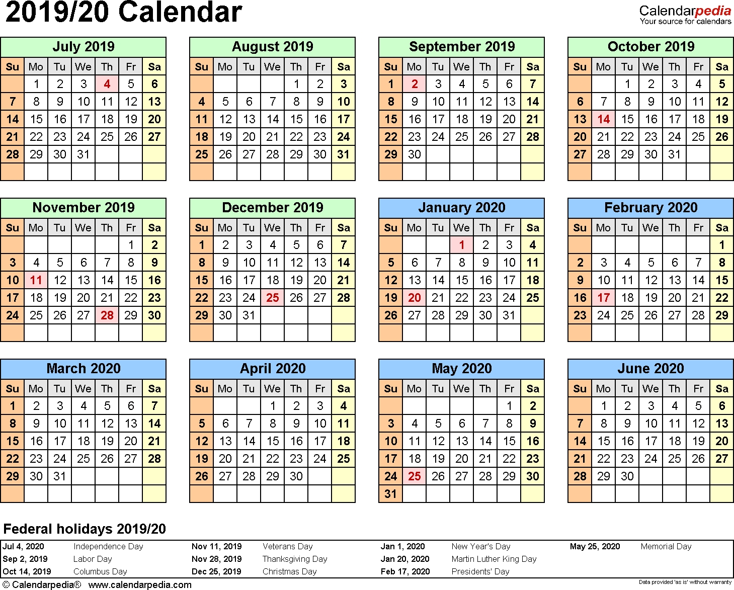 Split Year Calendar 2019/20 (July To June) - Pdf Templates  Calendar August To December 2020
