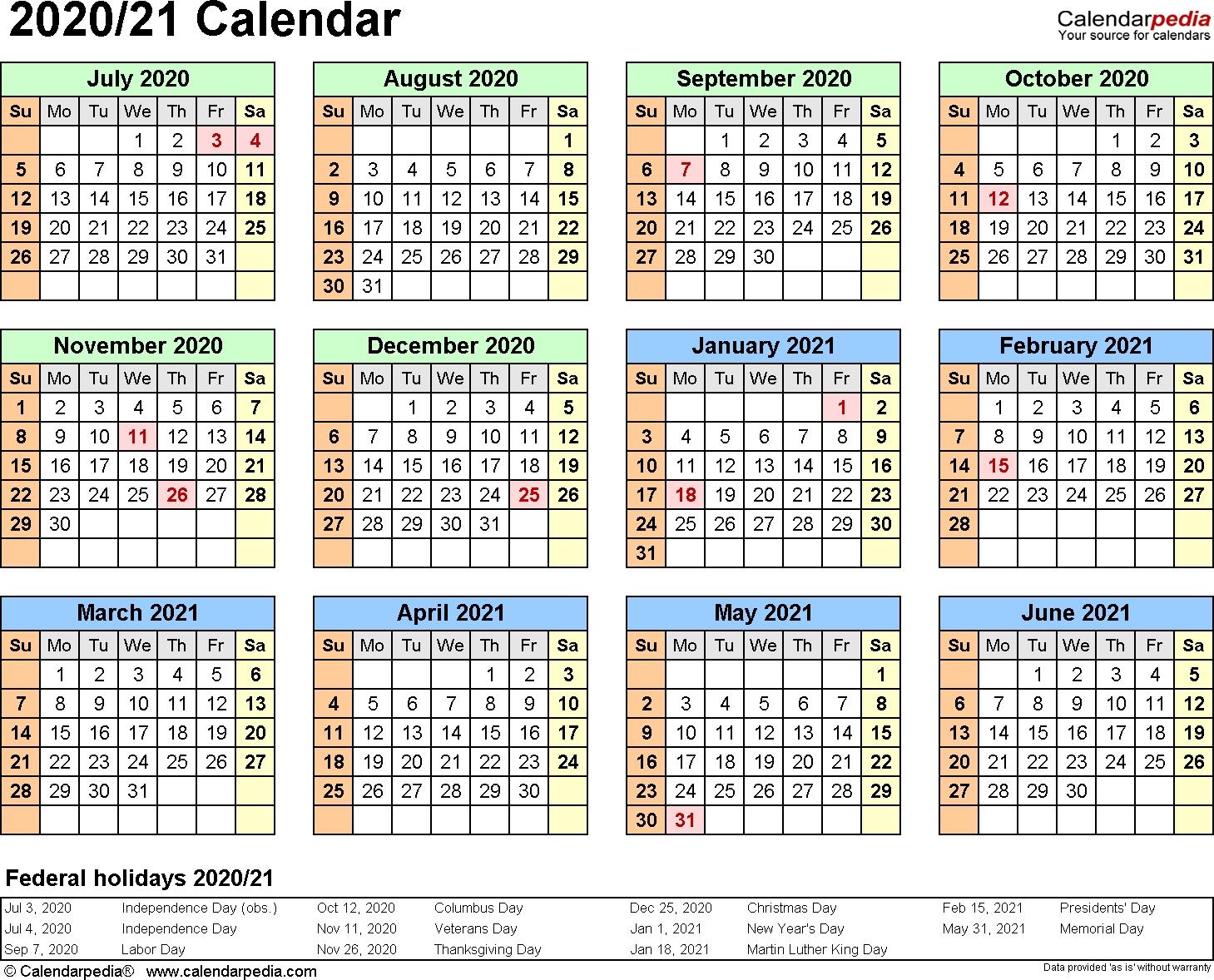 Split Year Calendar 2020/21 (July To June) - Pdf Templates  Financial Year Dates 2020/2020
