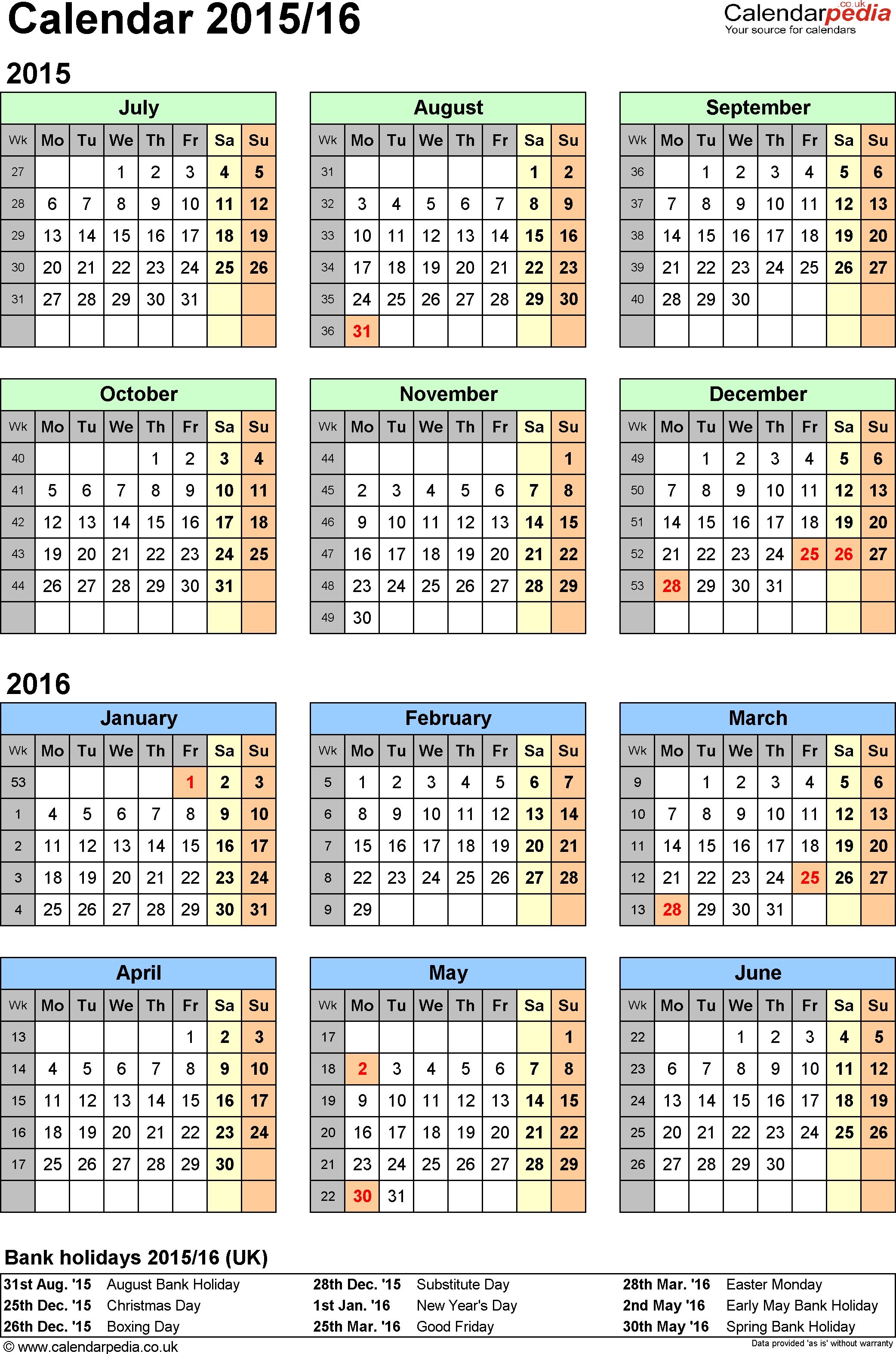 Split Year Calendars 2015/16 (July To June) For Excel (Uk  Financial Year Australia