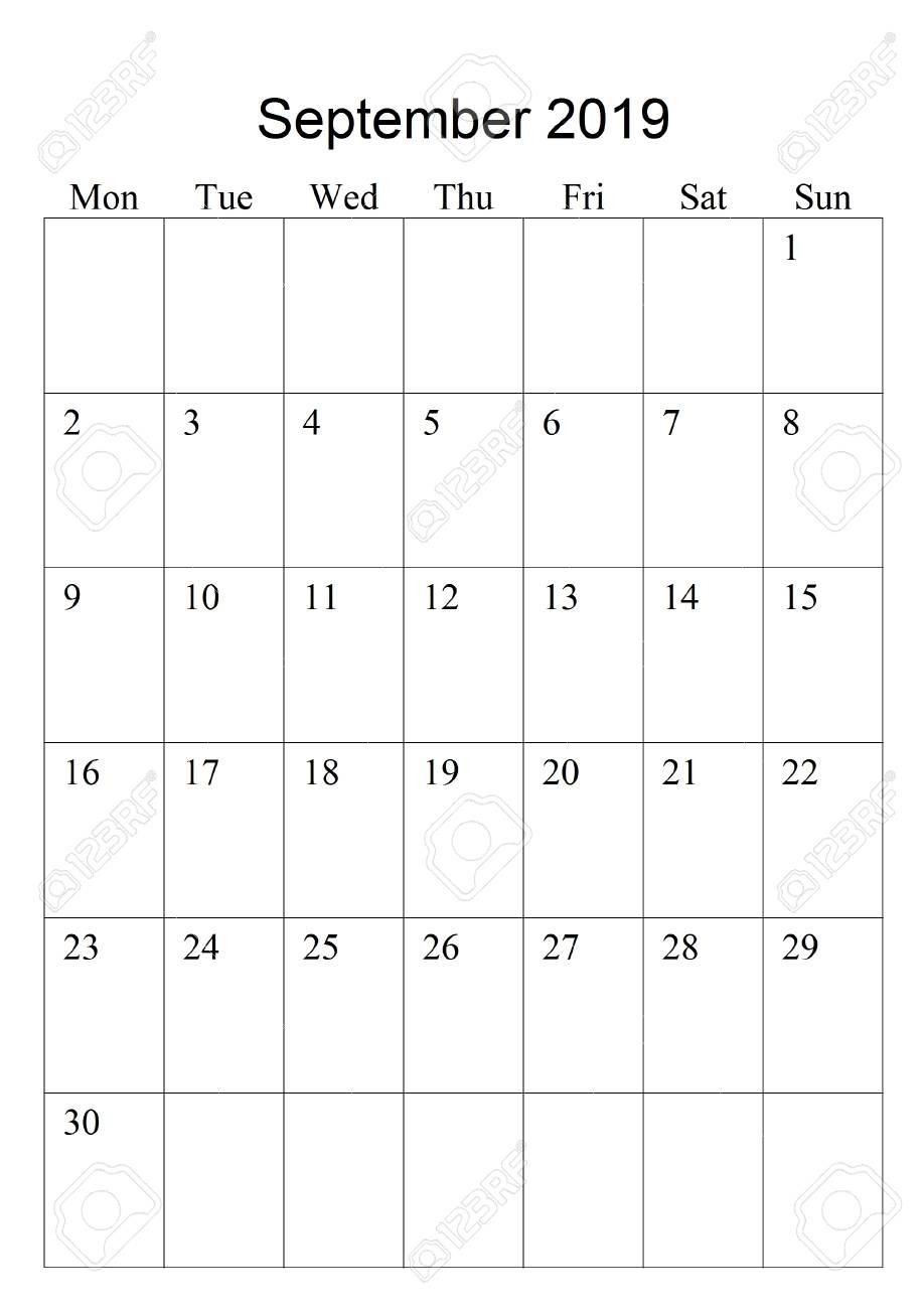 The Original Calendar For September, 2019. The Beginning Of Week..  September Calendar Beginning With Mondays