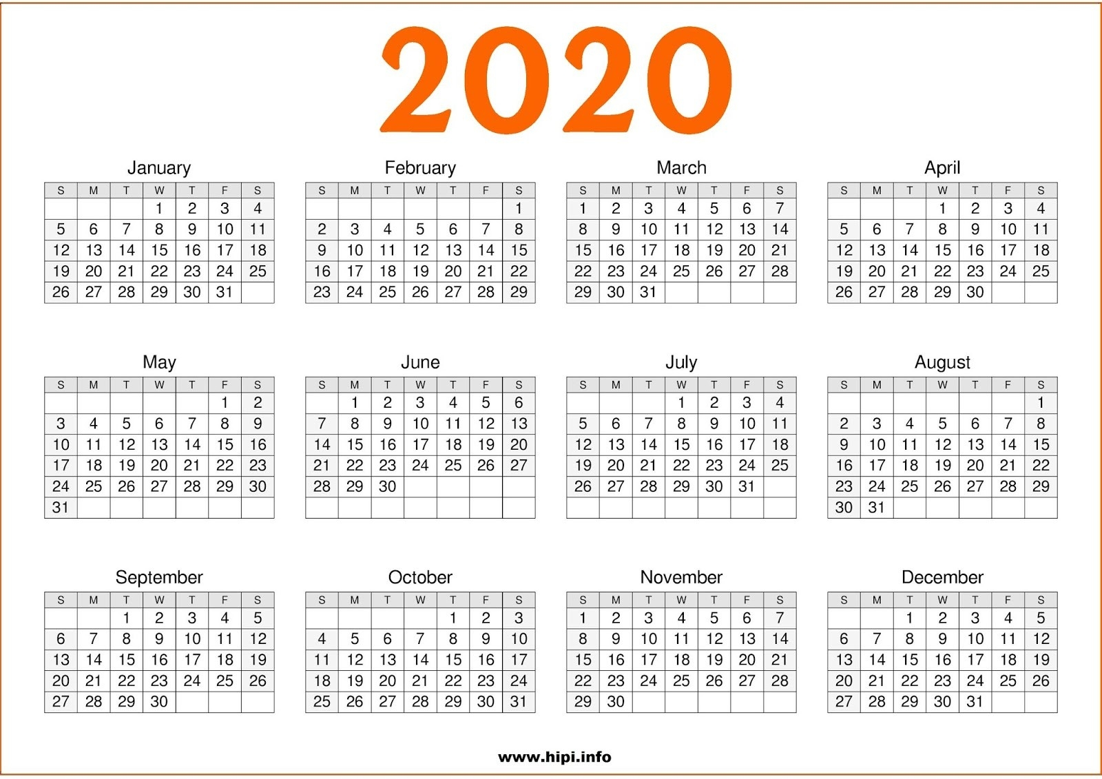 Twitter Headers / Facebook Covers / Wallpapers / Calendars  2020 Calendar Printable Full Page