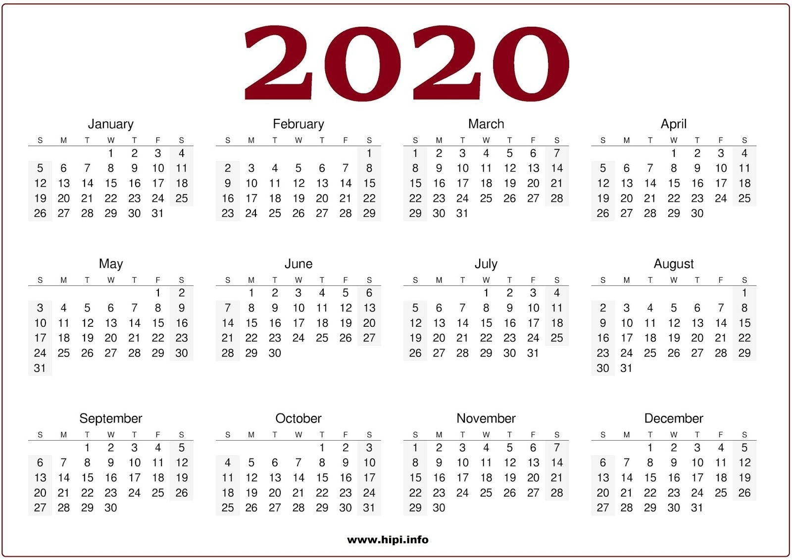 Twitter Headers / Facebook Covers / Wallpapers / Calendars  2020 Full Size Calendar Free Printable