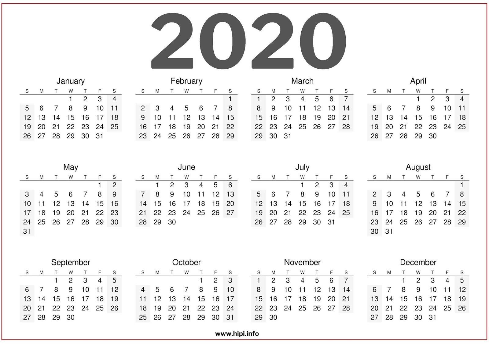 Twitter Headers / Facebook Covers / Wallpapers / Calendars  2020 Full Size Calendar Free Printable