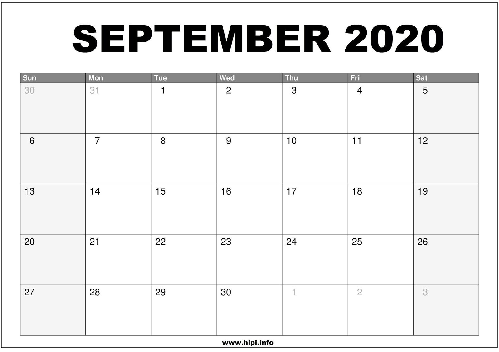 Twitter Headers / Facebook Covers / Wallpapers / Calendars  Full Size Sheet Printable September  2020Calendar