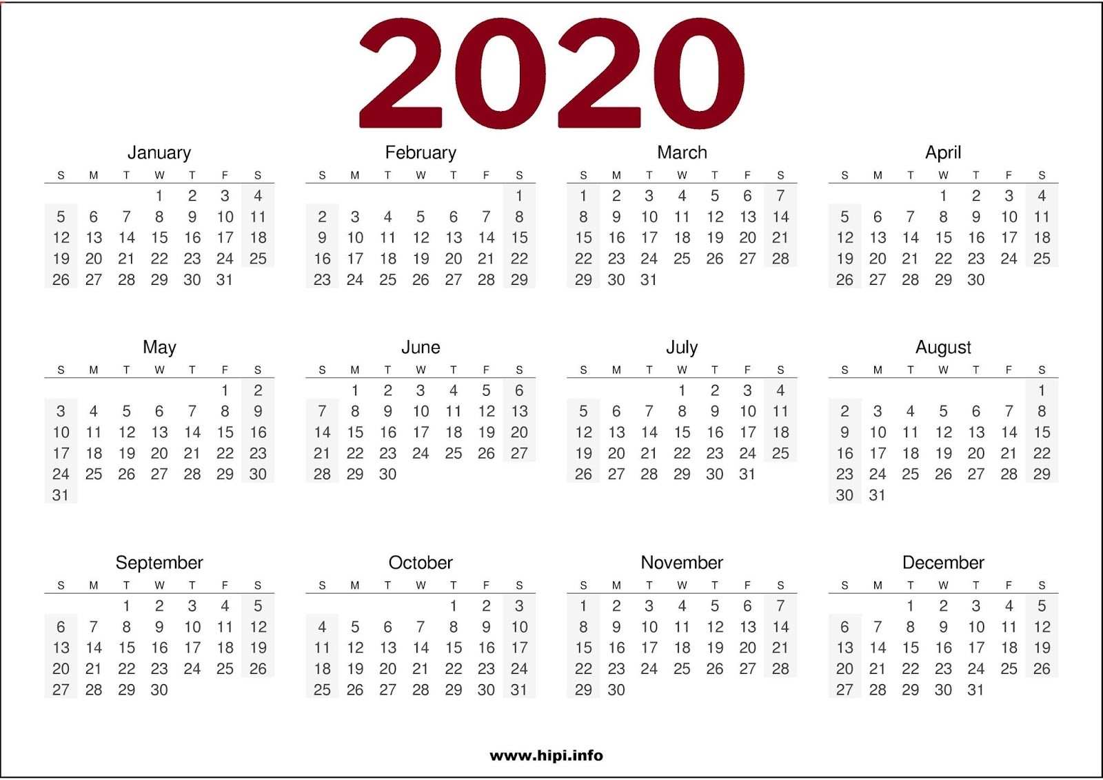 Twitter Headers / Facebook Covers / Wallpapers / Calendars  Printable Full Page Calendar 2020