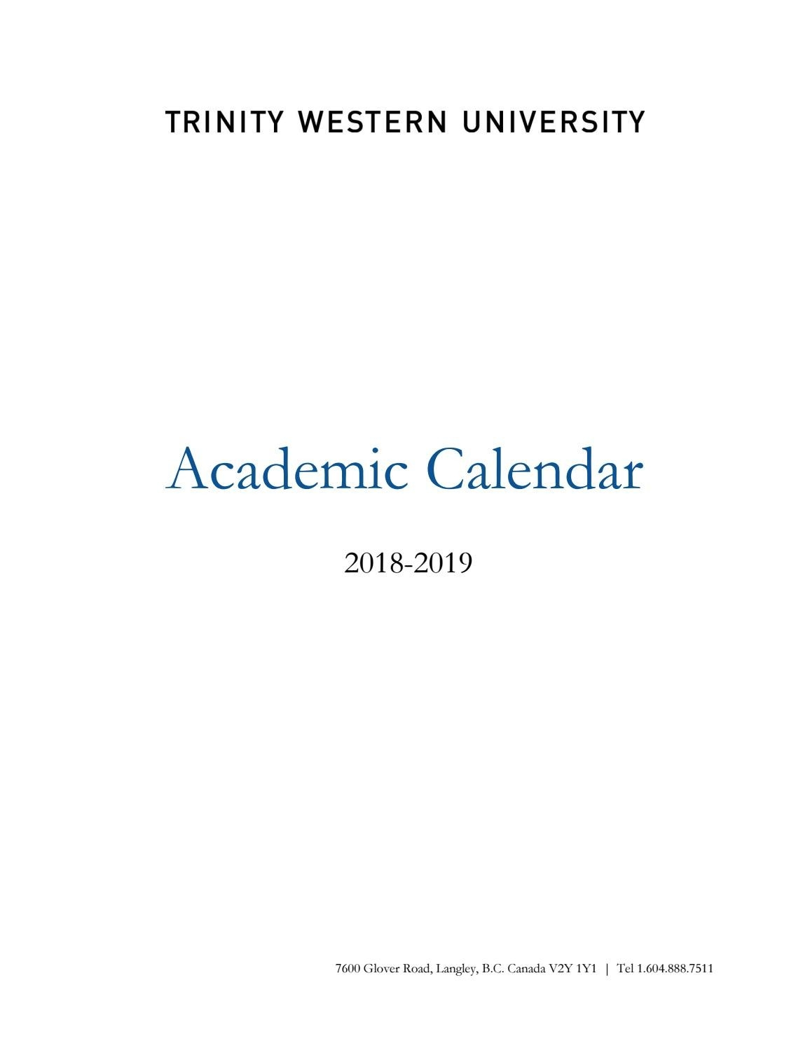 Twu Academic Calendar 2018-2019Twu - Issuu  Unite Methodist Calender - Christian Calender Year Subjects