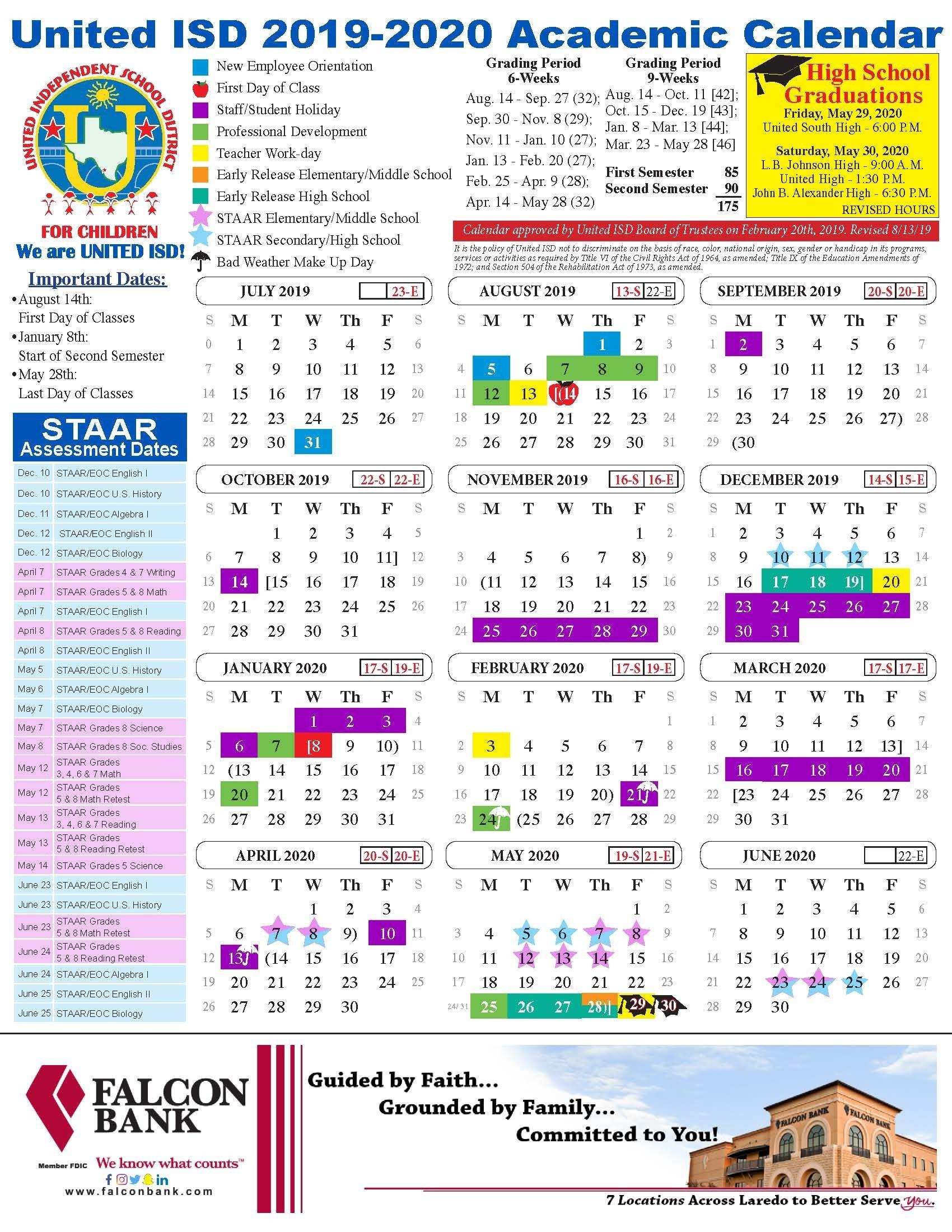 United Isd - Academic Calendar  Date Code Calendar 2020