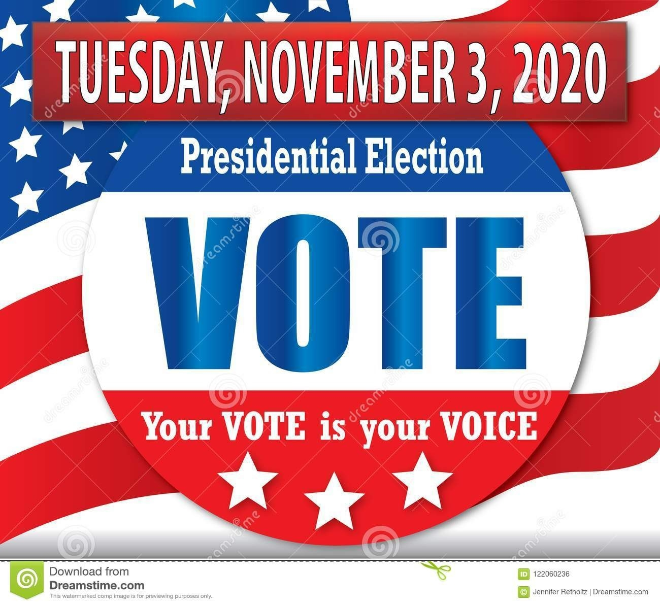 Vote In 2020 Presidential Election Banner With American Flag  November Clipart 2020