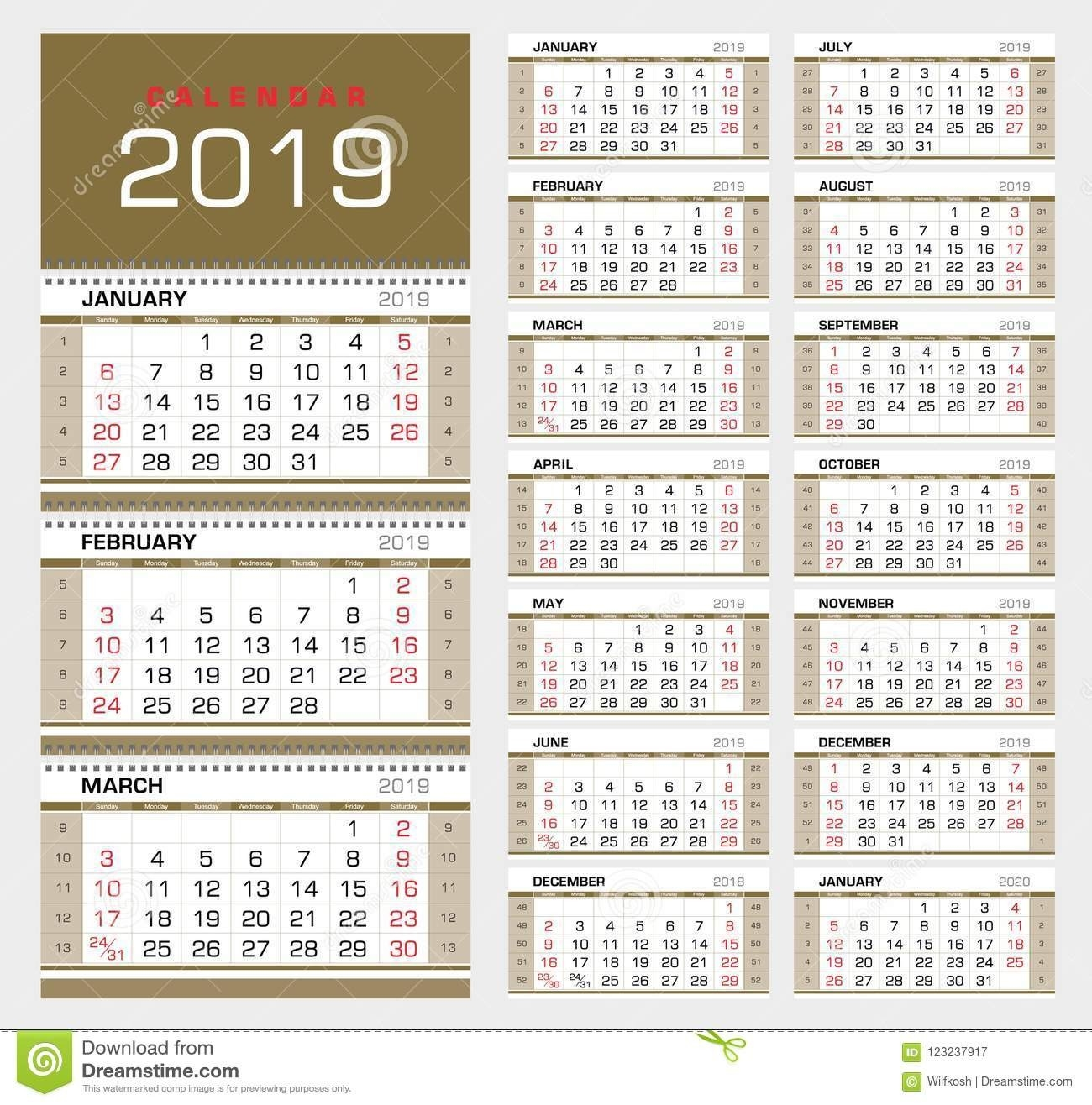 Wall Quarterly Calendar 2019 With Week Numbers. Week Start  2020 Calendar With Week Numbers In Pdf