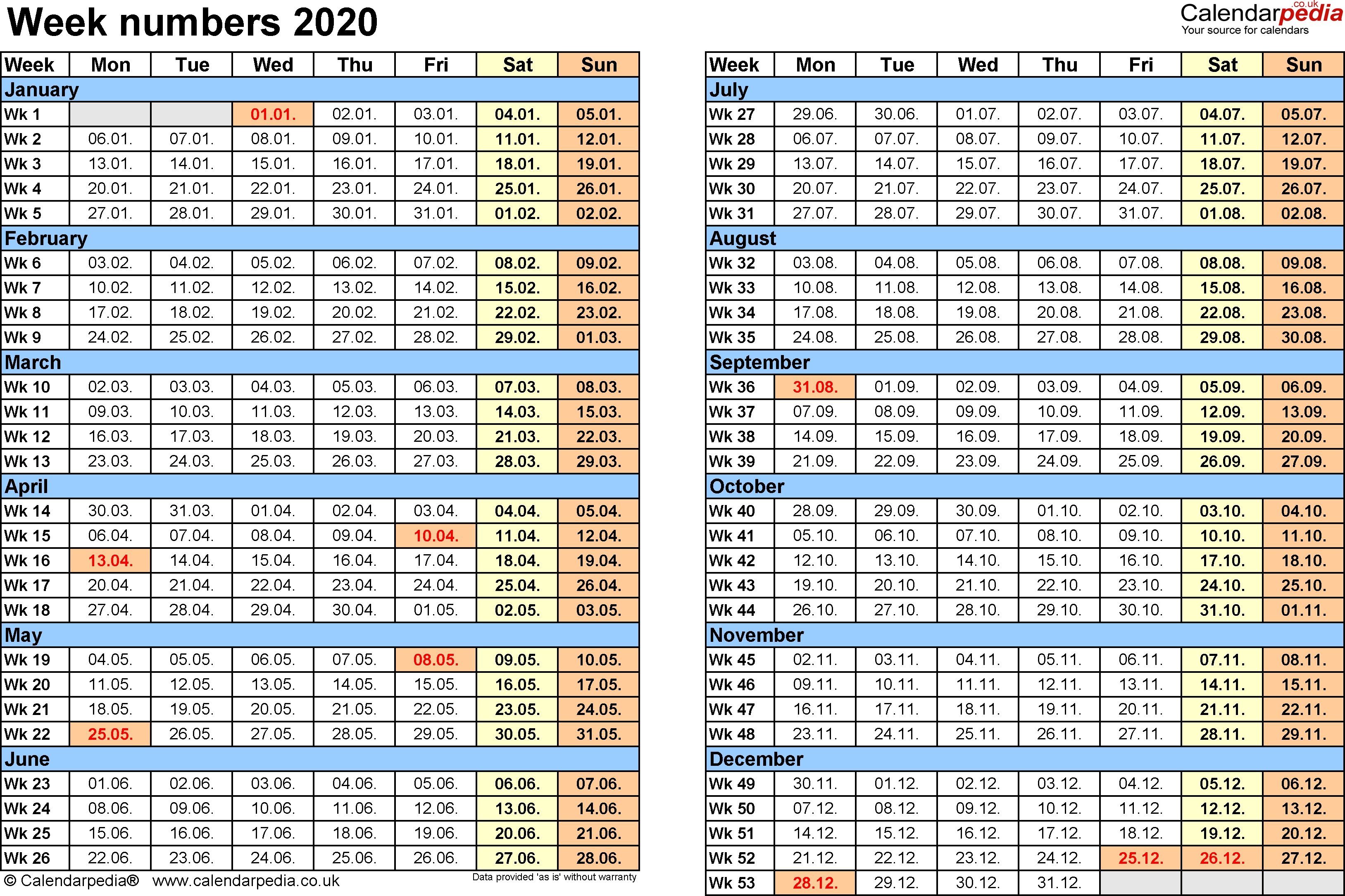 Week Numbers 2020, With Bank Holidays & Excel/pdf/word Templates  2020 Calendar With Week Numbers In Pdf