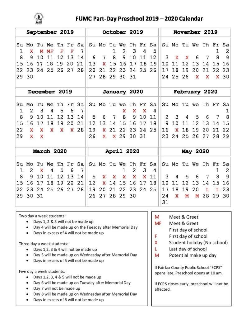 Weekday Preschool – Fairfax United Methodist Church  2020 Methodist Church Calendar