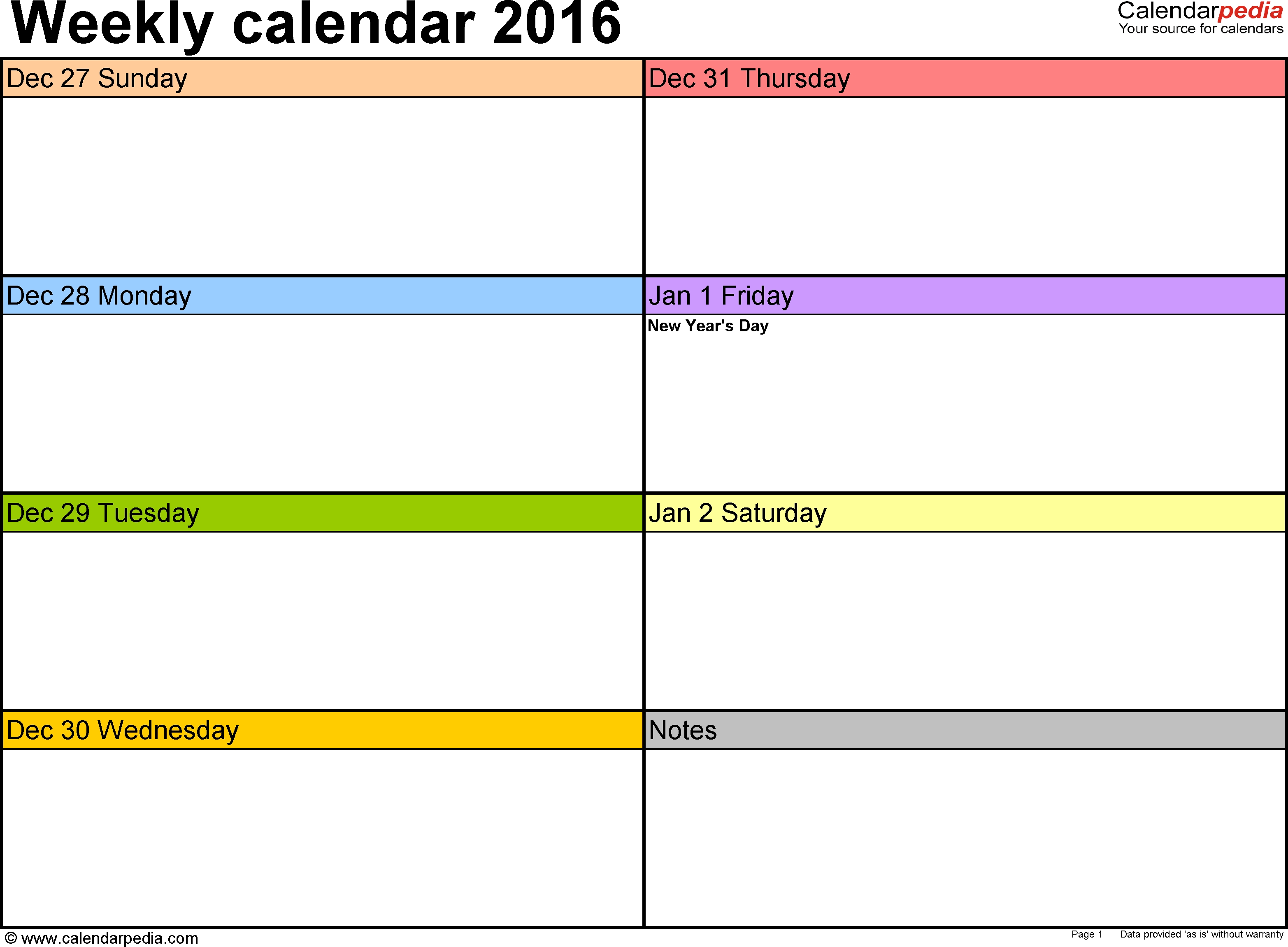 Weekly Calendar 2016 For Word - 12 Free Printable Templates  7 Days Weekly Planner Word Template