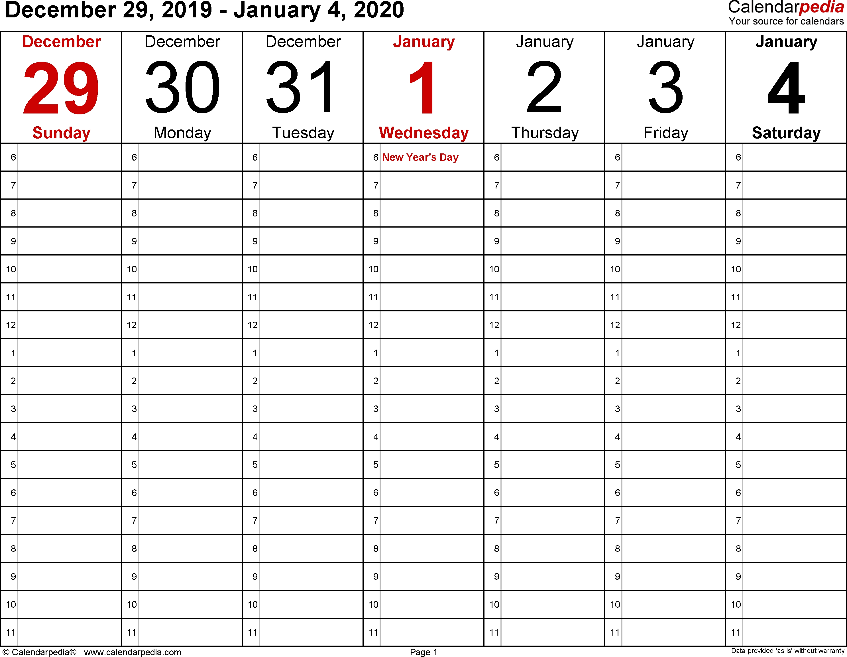 Weekly Calendar 2020 For Word - 12 Free Printable Templates  Calendar To Write On 2020