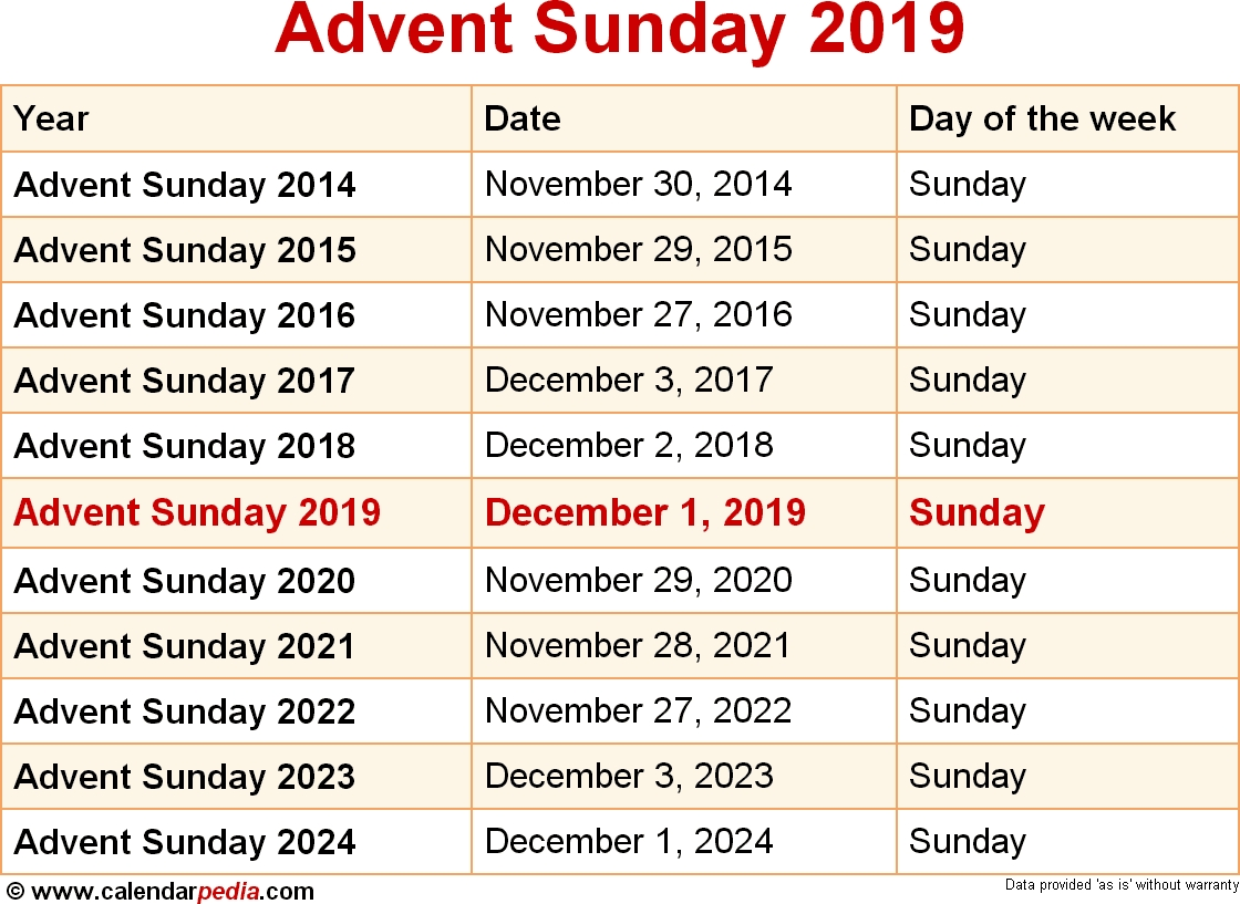 When Is Advent Sunday 2019 & 2020? Dates Of Advent Sunday  Advent Scripture Readings 2020 Calendar
