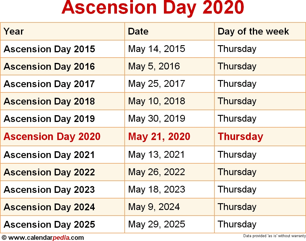When Is Ascension Day 2020 & 2021? Dates Of Ascension Day  Umc Lectionary Calendar 2020